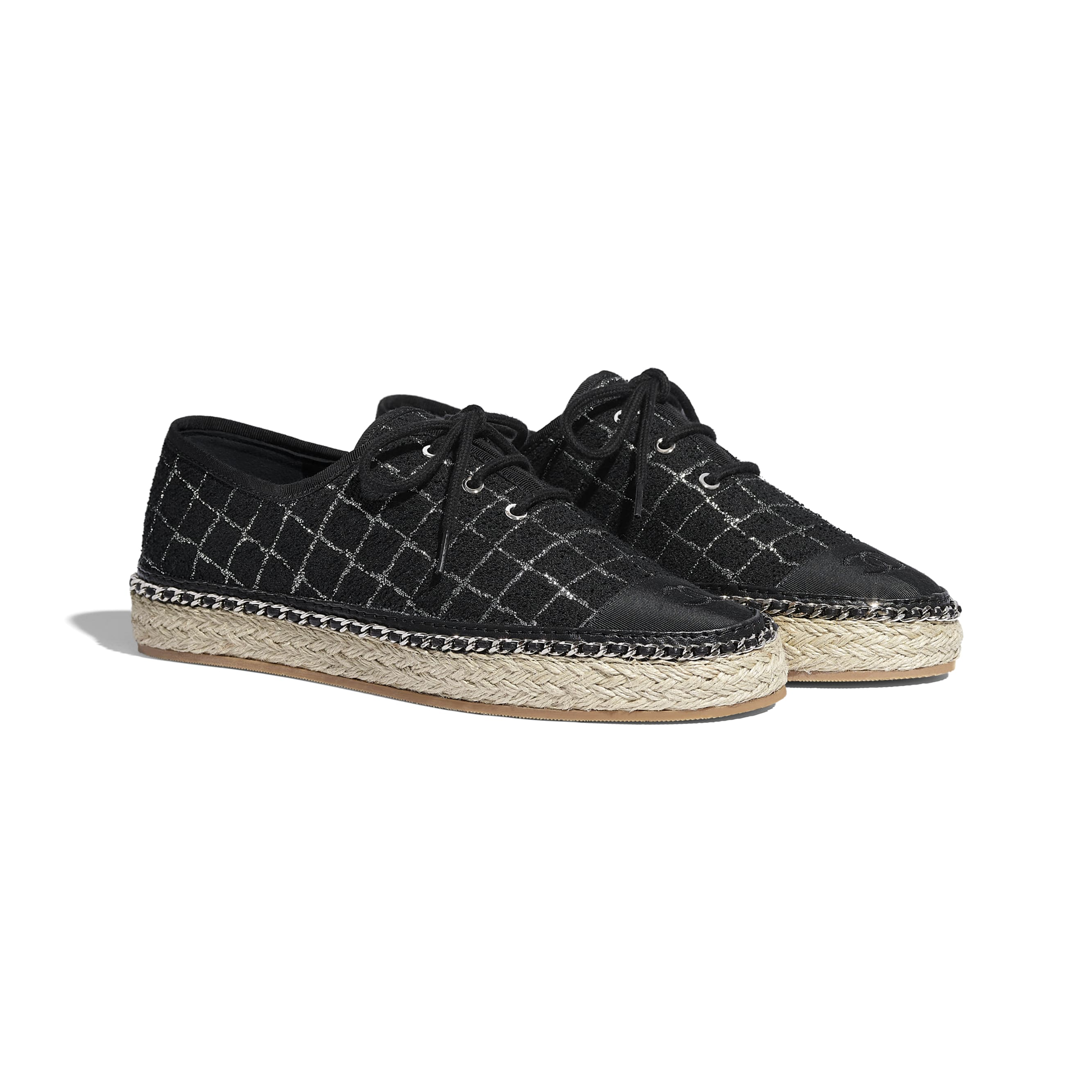 Lace-Ups - Black & Silver - Tweed & Grosgrain - CHANEL - Alternative view - see standard sized version