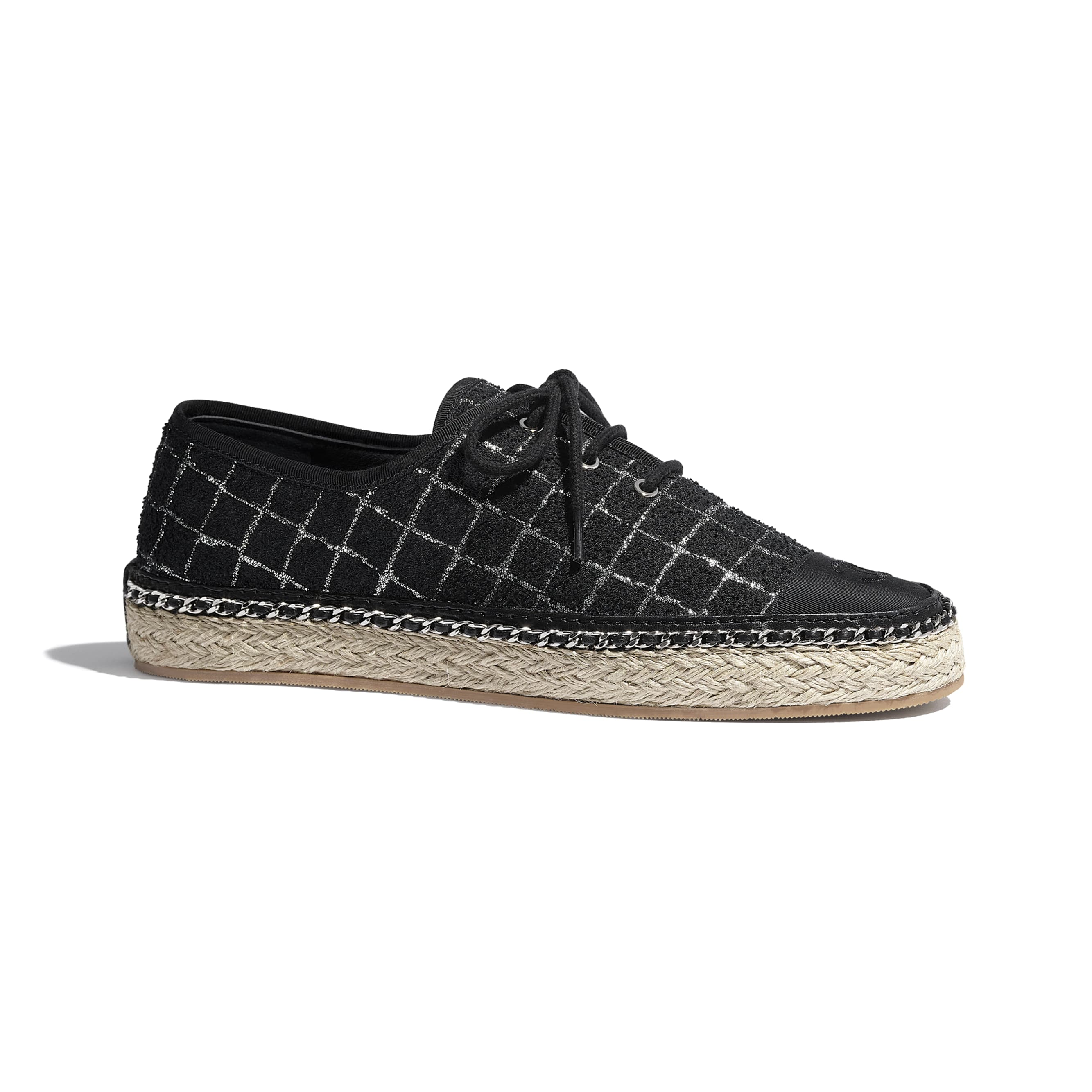 Lace-Ups - Black & Silver - Tweed & Grosgrain - CHANEL - Default view - see standard sized version