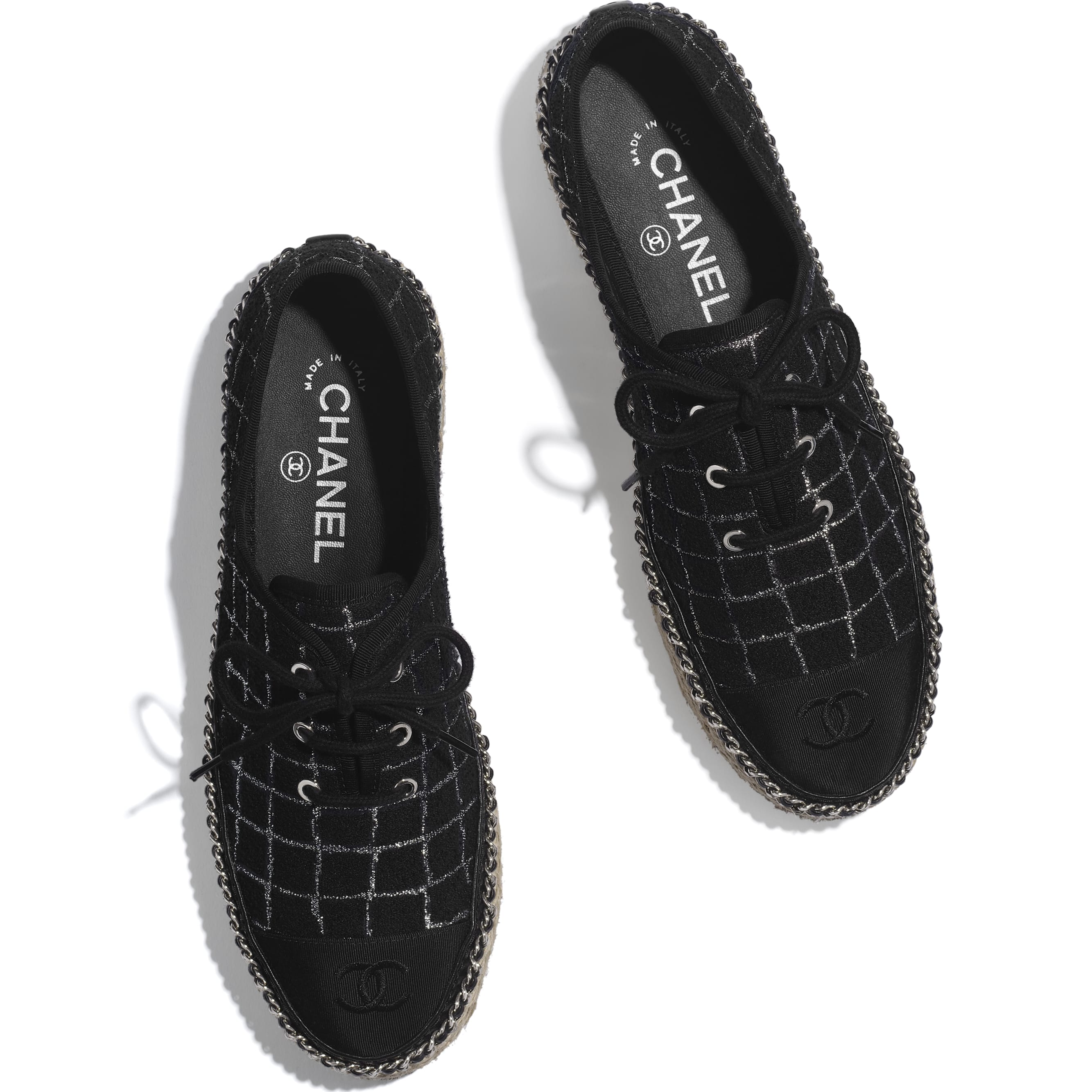 Lace-Ups - Black & Silver - Tweed & Grosgrain - CHANEL - Extra view - see standard sized version