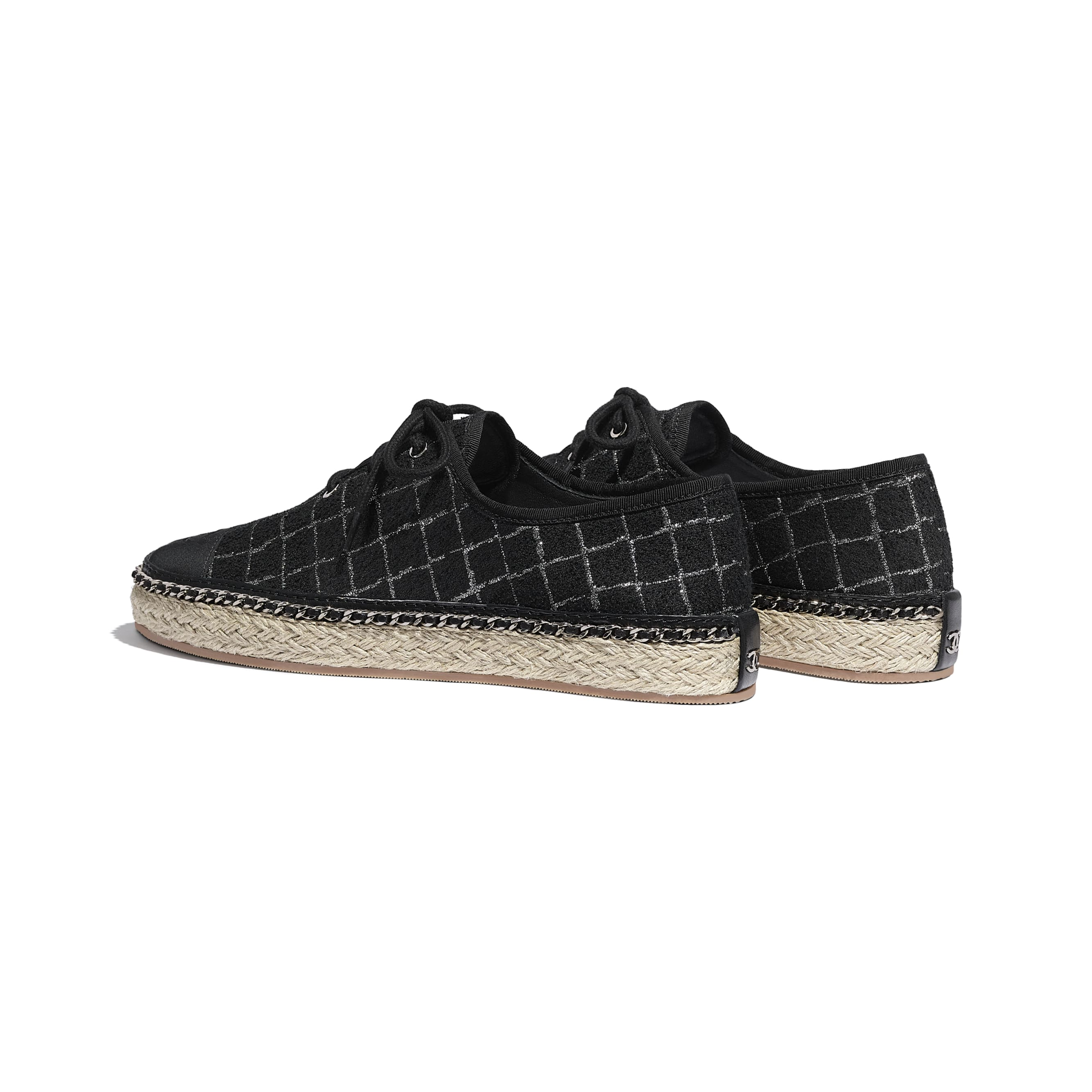 Lace-Ups - Black & Silver - Tweed & Grosgrain - CHANEL - Other view - see standard sized version