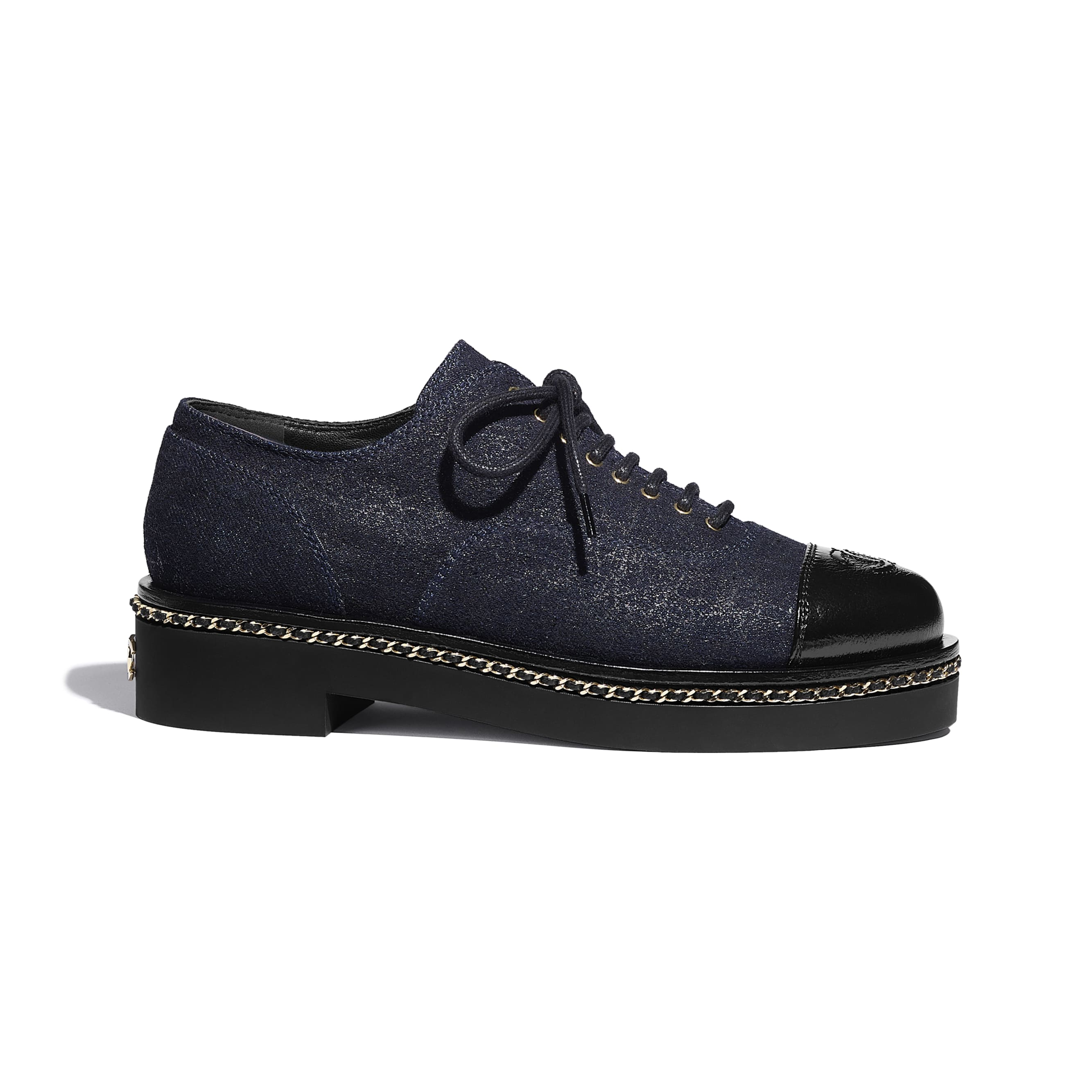 Lace Up - Blue & Black - Denim & Lambskin - CHANEL - Default view - see standard sized version
