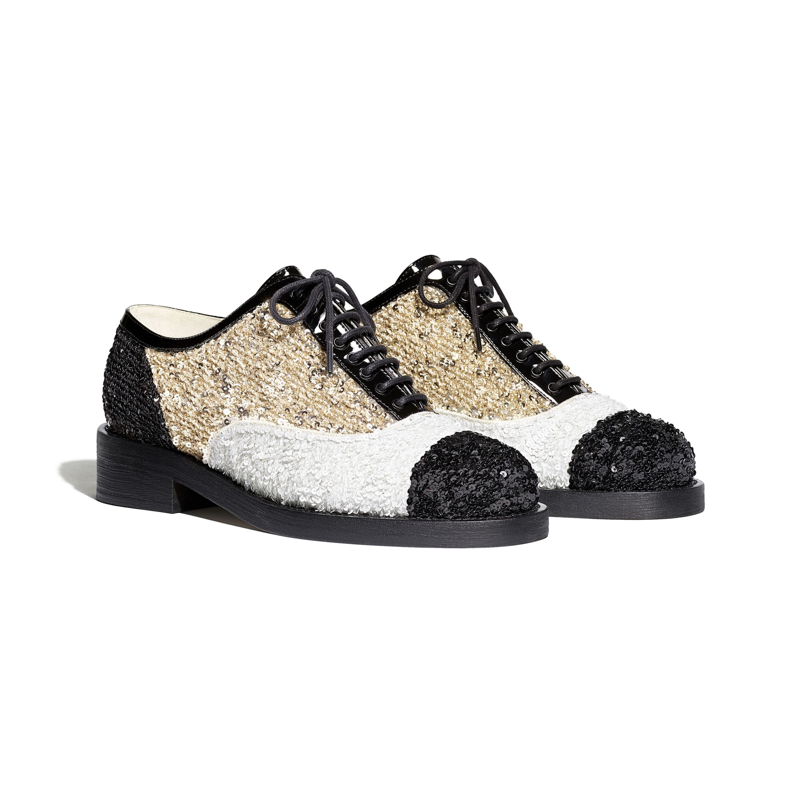 Lace Up - Gold, Ivory & Black - Sequins & Patent Calfskin - CHANEL - Alternative view - see standard sized version