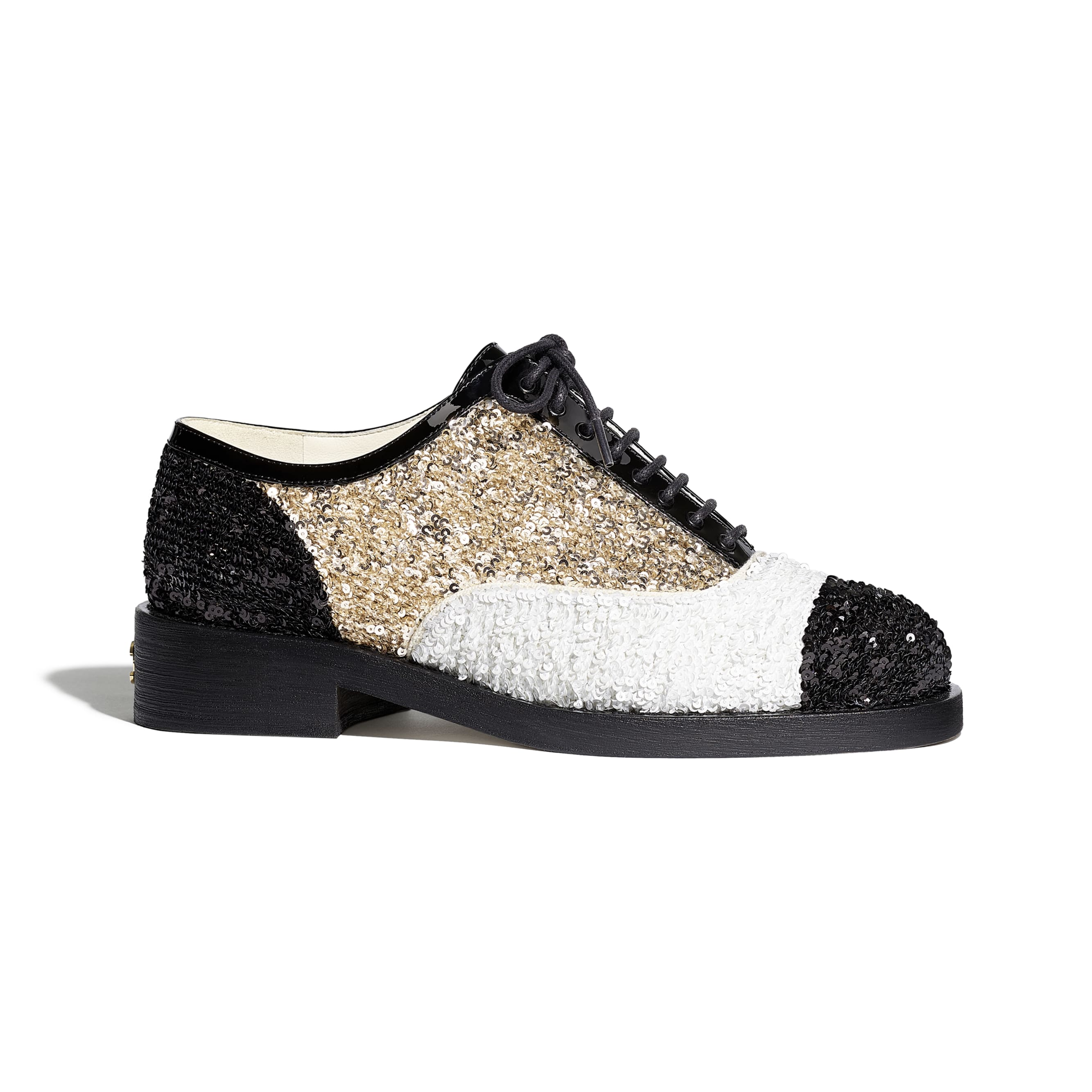 Lace Up - Gold, Ivory & Black - Sequins & Patent Calfskin - CHANEL - Default view - see standard sized version