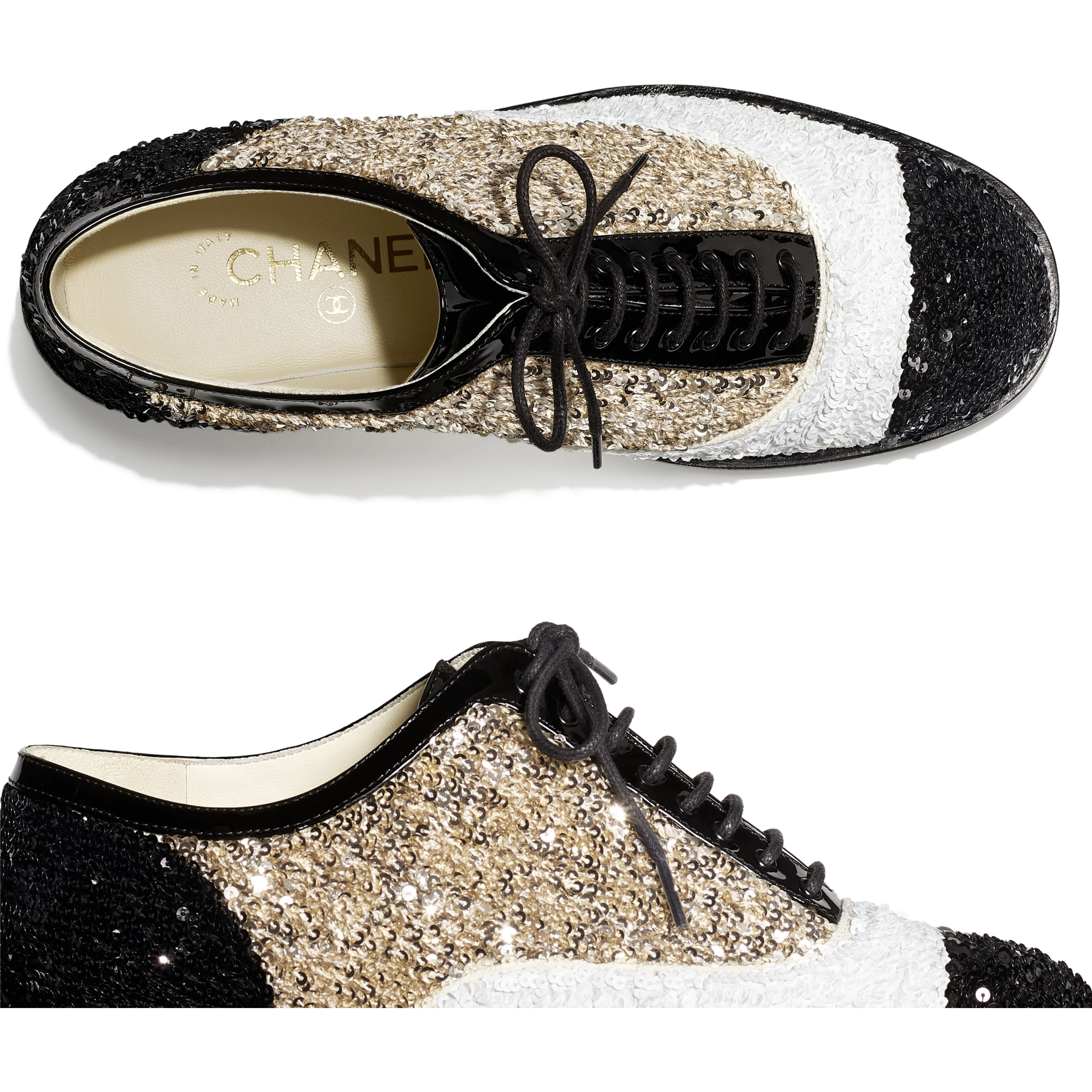 Lace Up - Gold, Ivory & Black - Sequins & Patent Calfskin - CHANEL - Extra view - see standard sized version