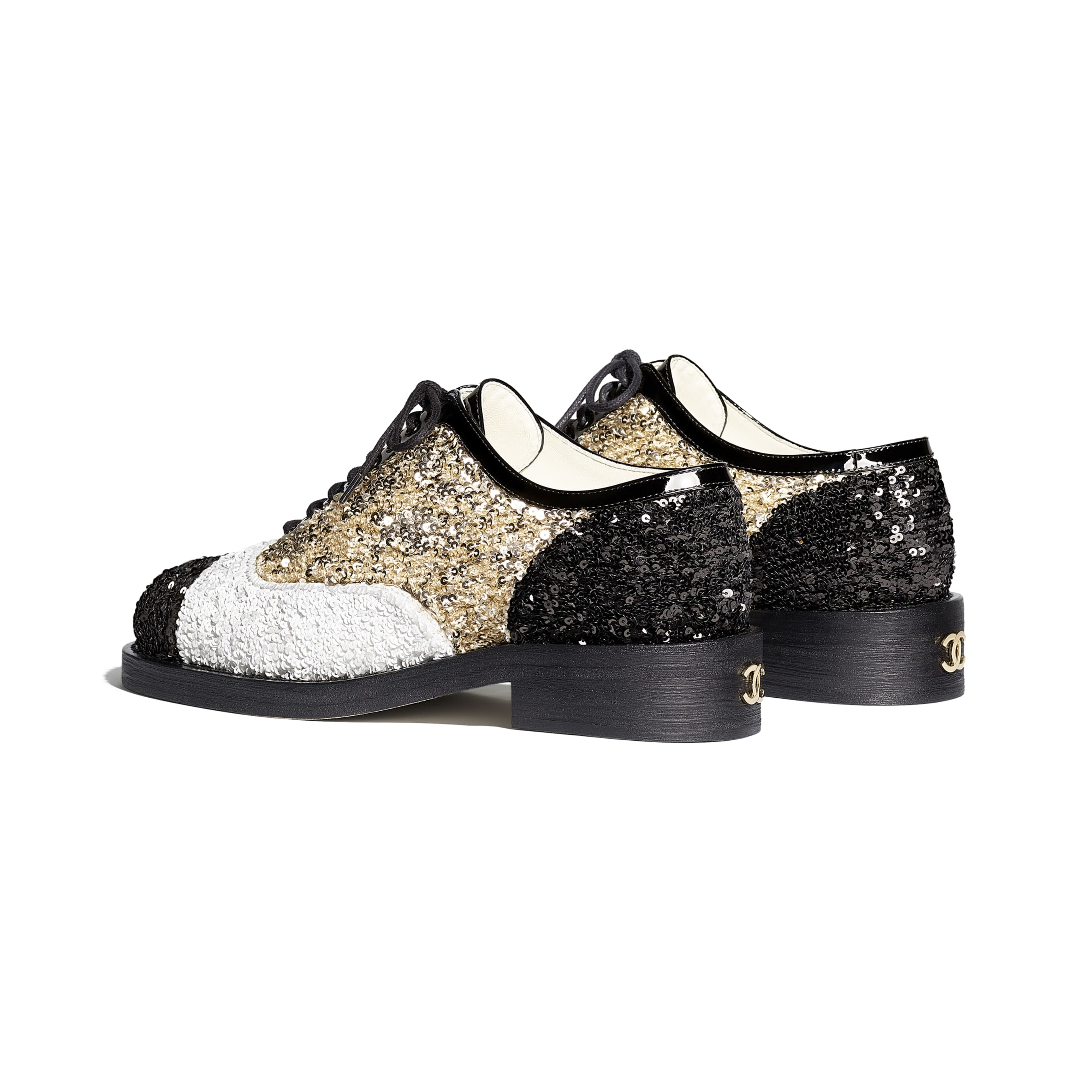 Lace Up - Gold, Ivory & Black - Sequins & Patent Calfskin - CHANEL - Other view - see standard sized version