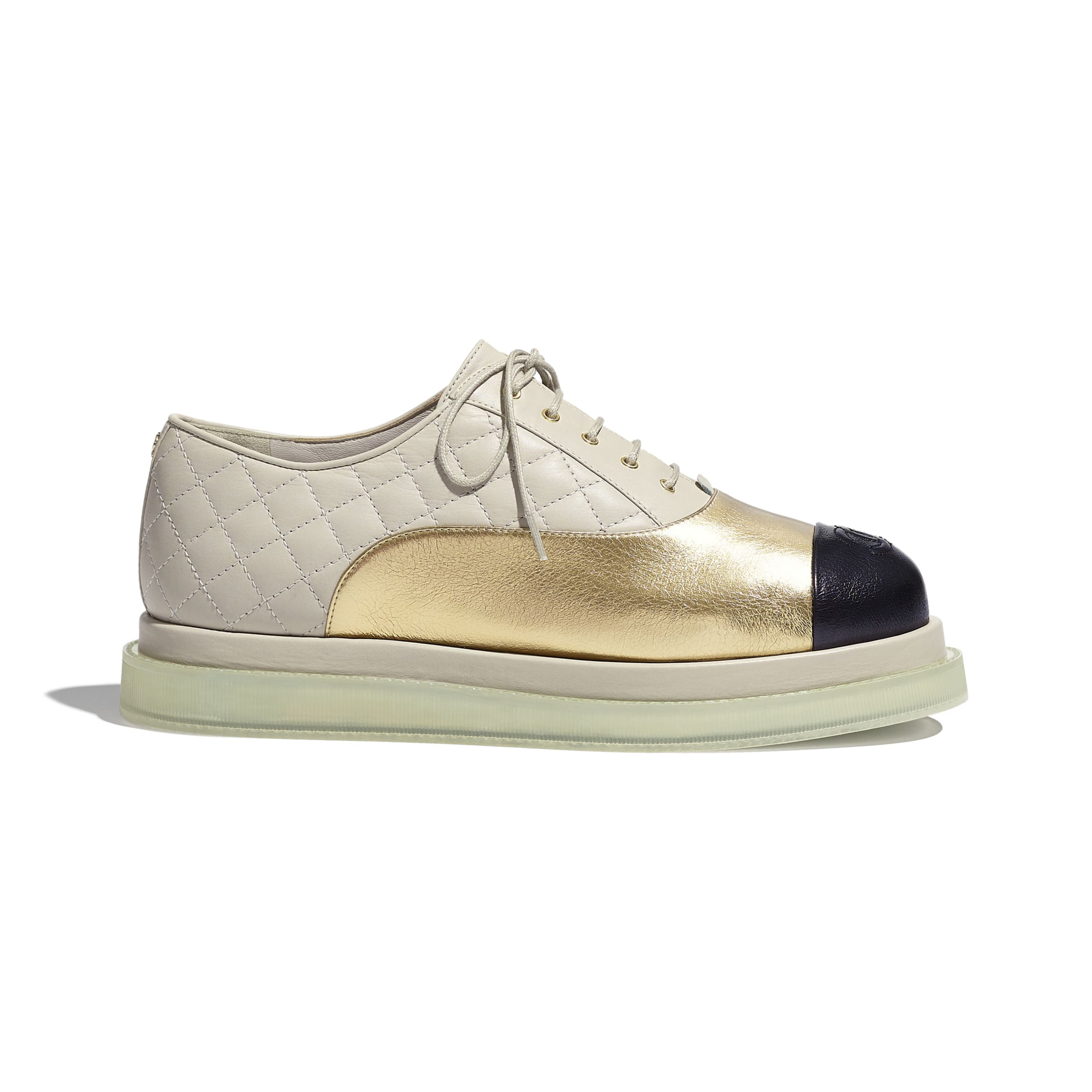 Lace Up - Gold, Light Beige & Black - Laminated Goatskin & Calfskin  - CHANEL - Default view - see standard sized version