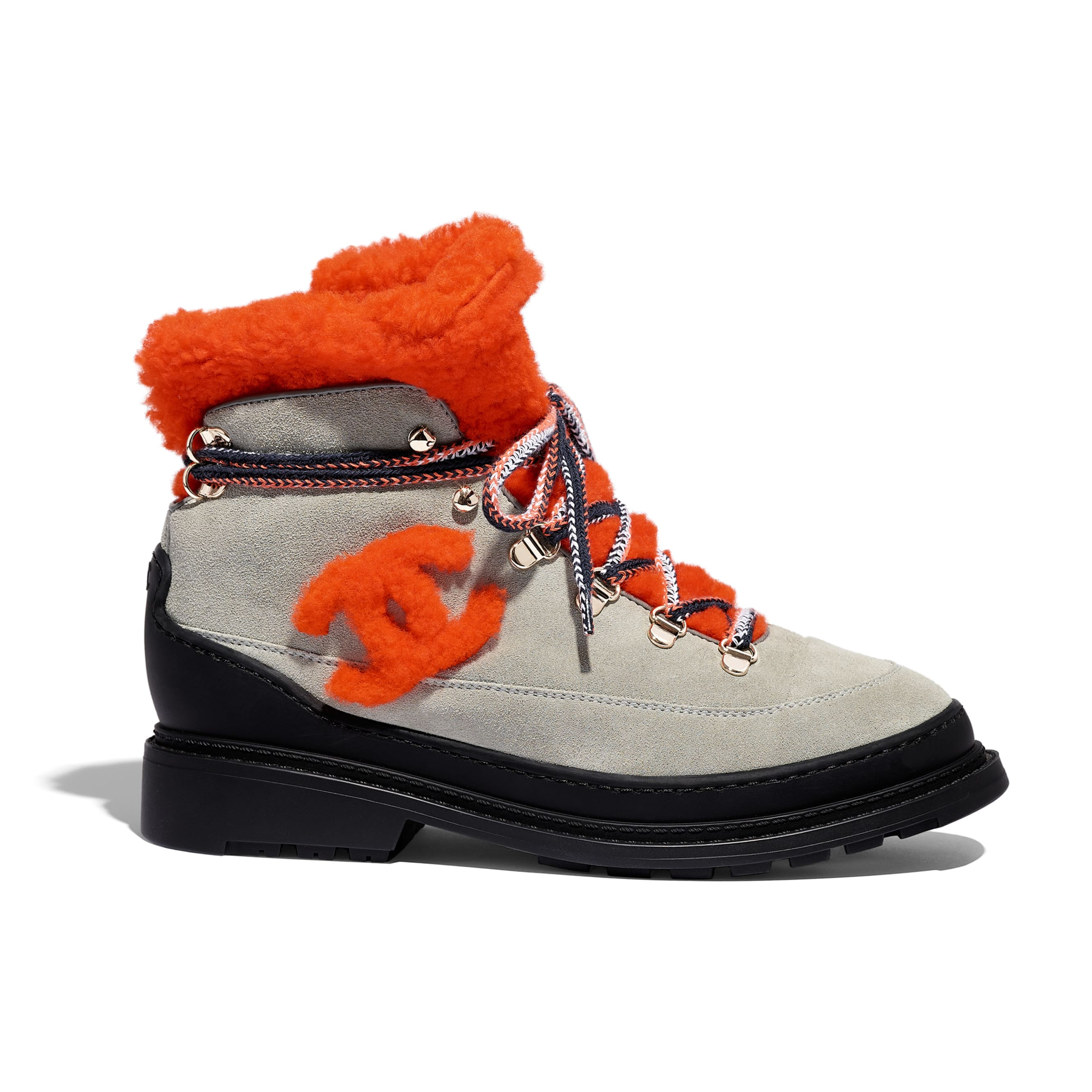 Lace Up - Grey & Orange - Suede Calfskin & Shearling - Default view - see standard sized version