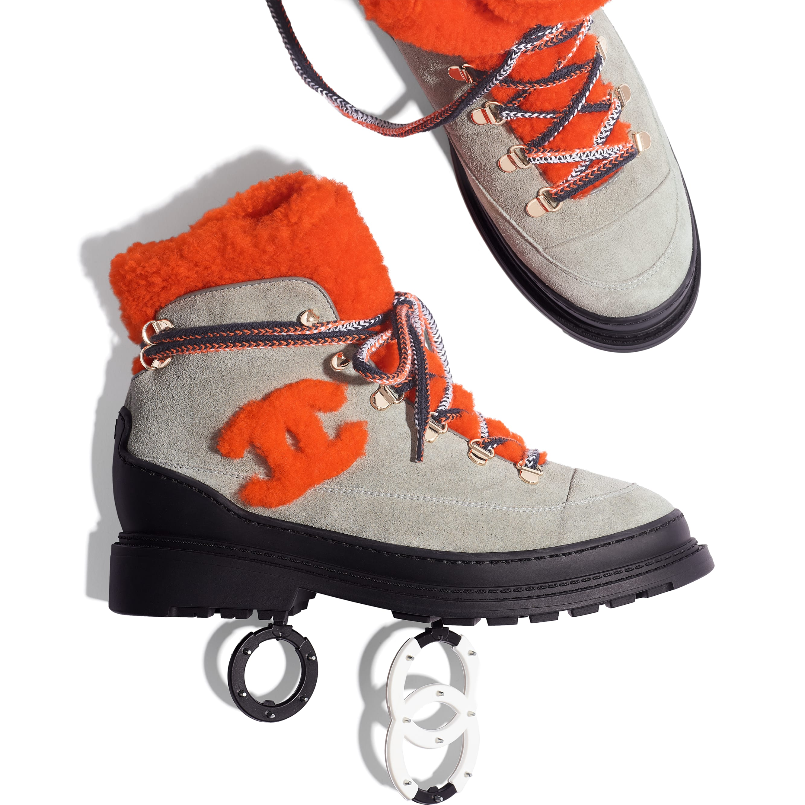Lace Up - Grey & Orange - Suede Calfskin & Shearling - Extra view - see standard sized version