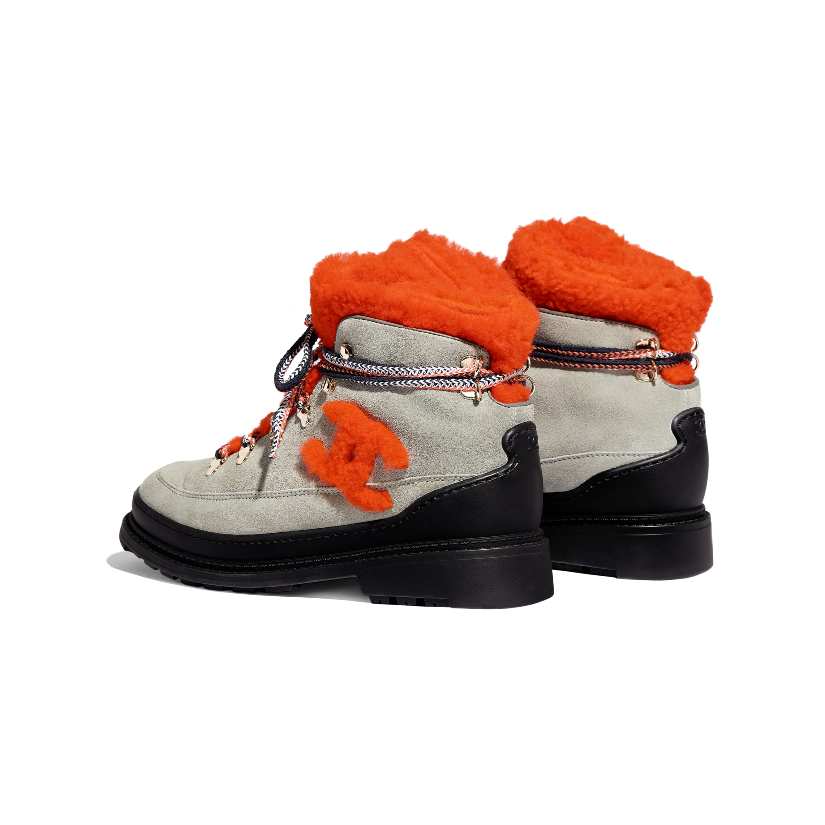 Lace Up - Grey & Orange - Suede Calfskin & Shearling - Other view - see standard sized version