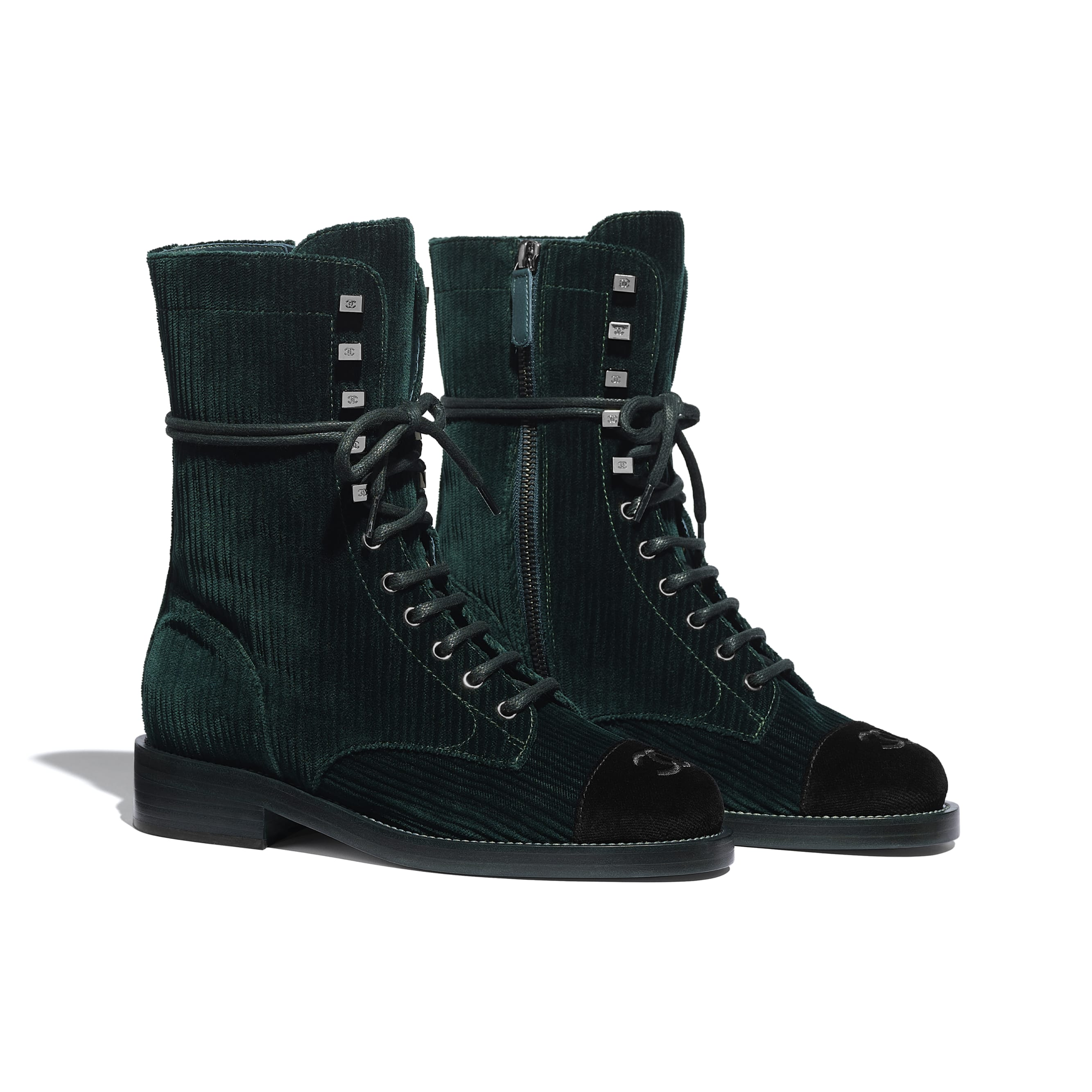 Lace Up - Green & Black - Velvet - CHANEL - Alternative view - see standard sized version
