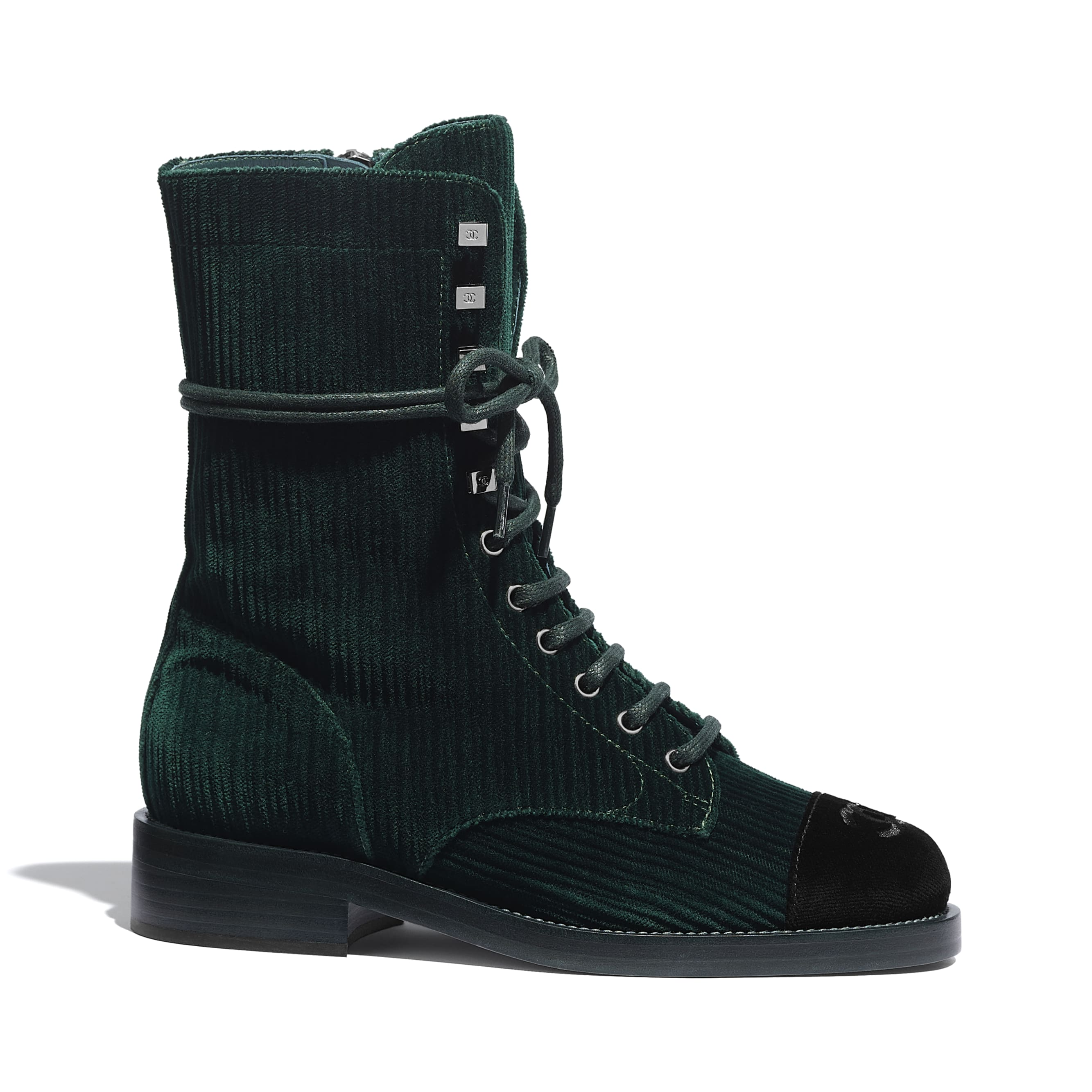 Lace Up - Green & Black - Velvet - CHANEL - Default view - see standard sized version