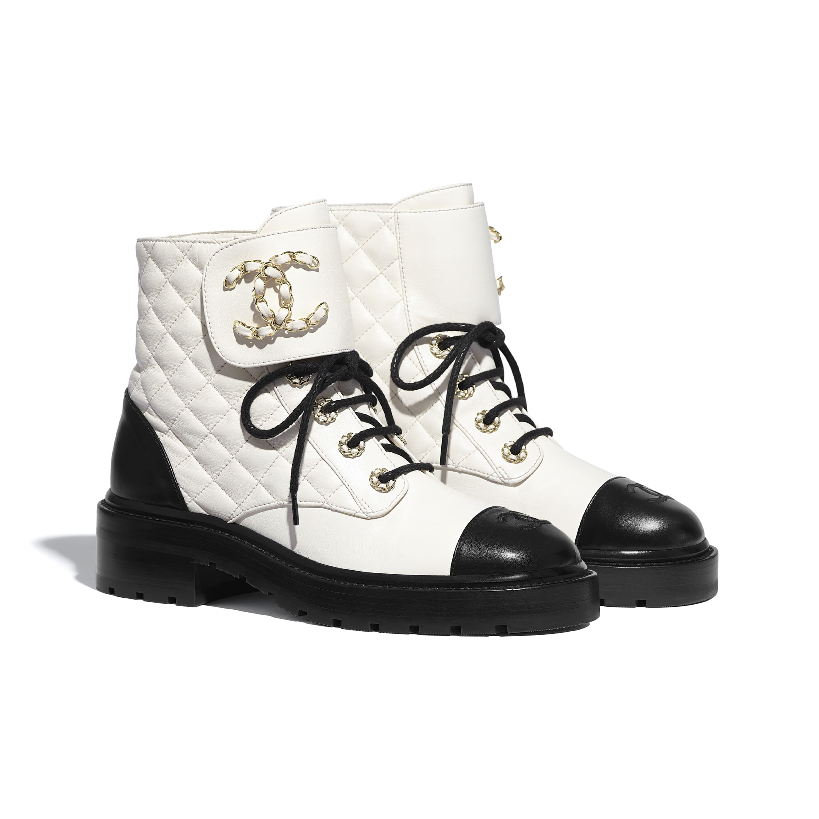 Lace Up - Ivory & Black - Lambskin & Calfskin - CHANEL - Alternative view - see standard sized version