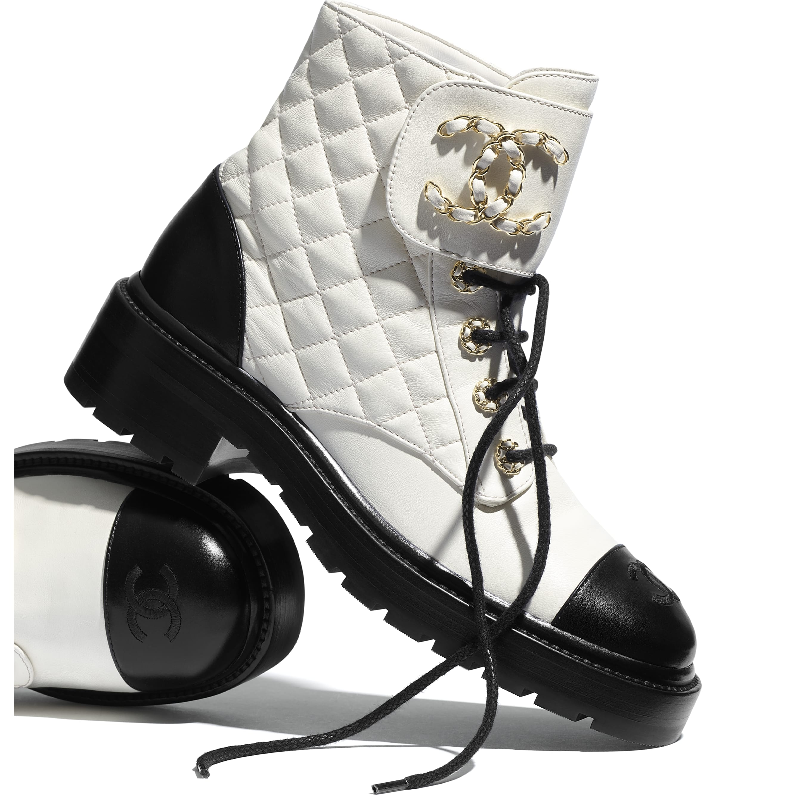 Lace Up - Ivory & Black - Lambskin & Calfskin - CHANEL - Extra view - see standard sized version
