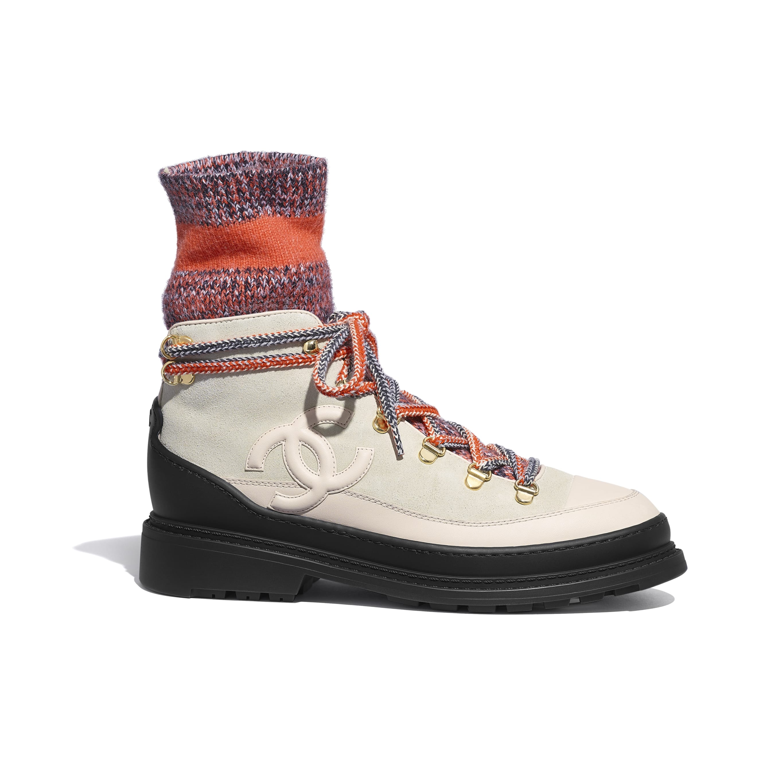 Lace Up - Ivory, Gray & Orange - Calfskin & Mixed Fibers - Default view - see standard sized version