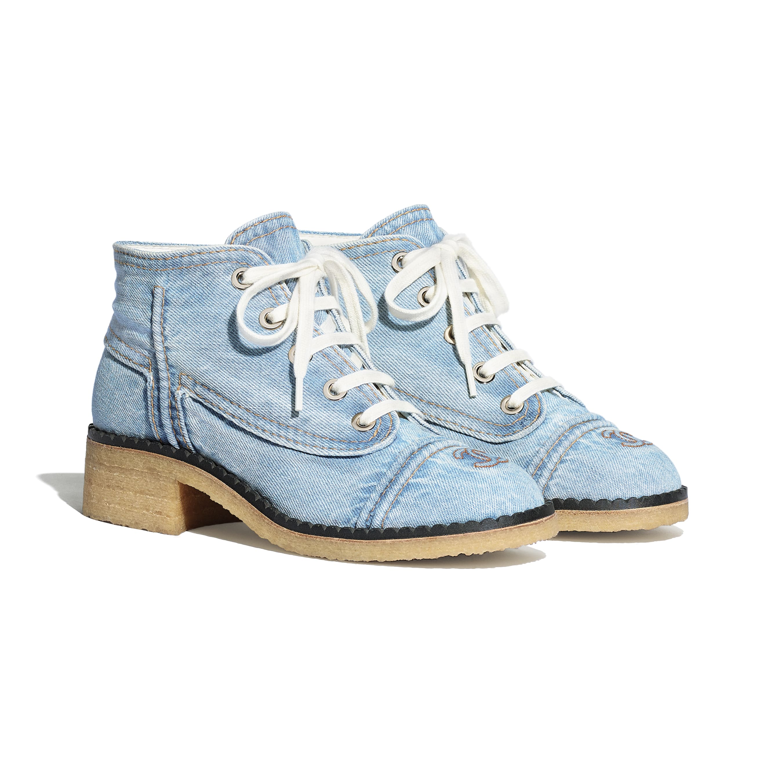 Lace Up - Light Blue - Denim - CHANEL - Alternative view - see standard sized version