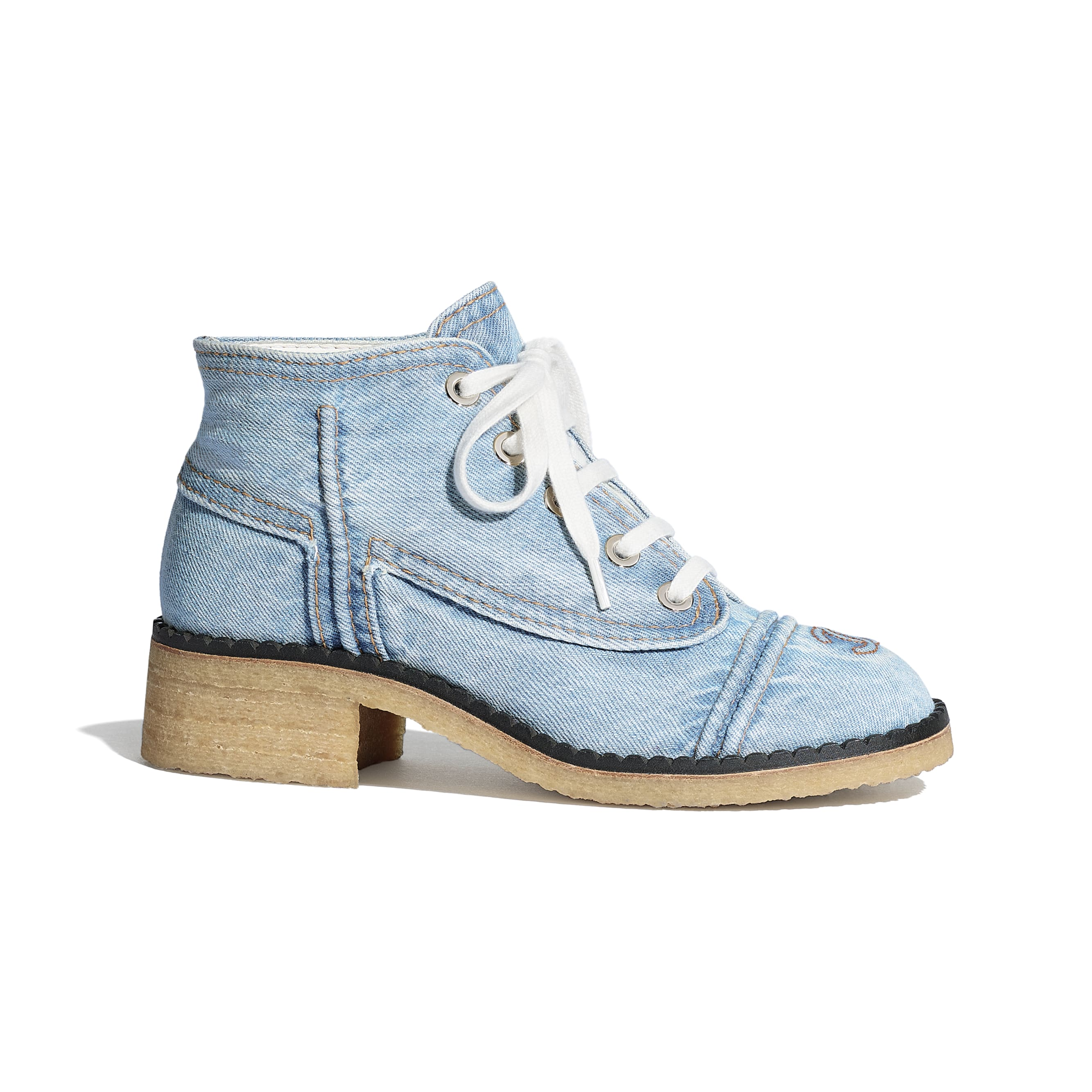 Lace Up - Light Blue - Denim - CHANEL - Default view - see standard sized version