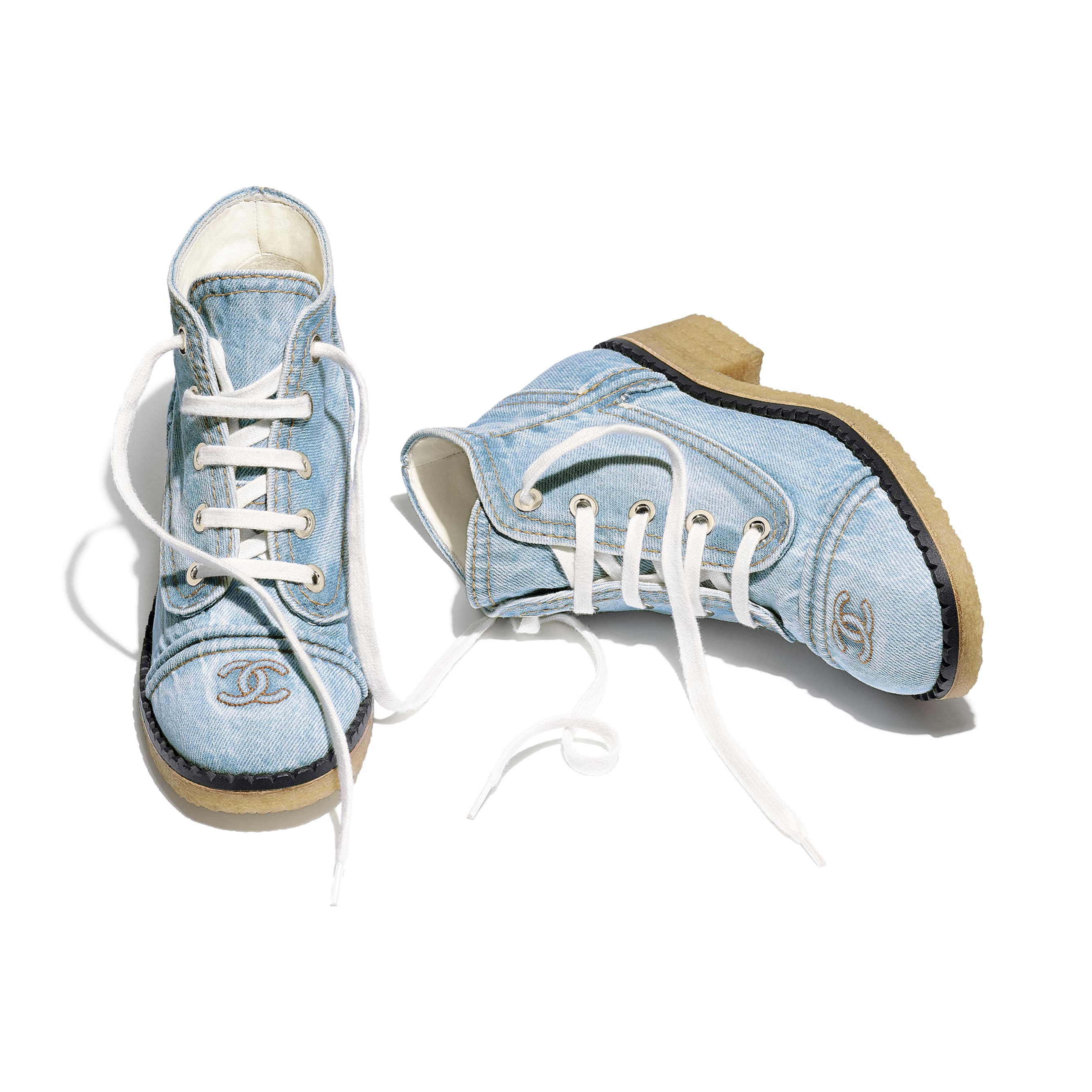 Lace Up - Light Blue - Denim - CHANEL - Extra view - see standard sized version