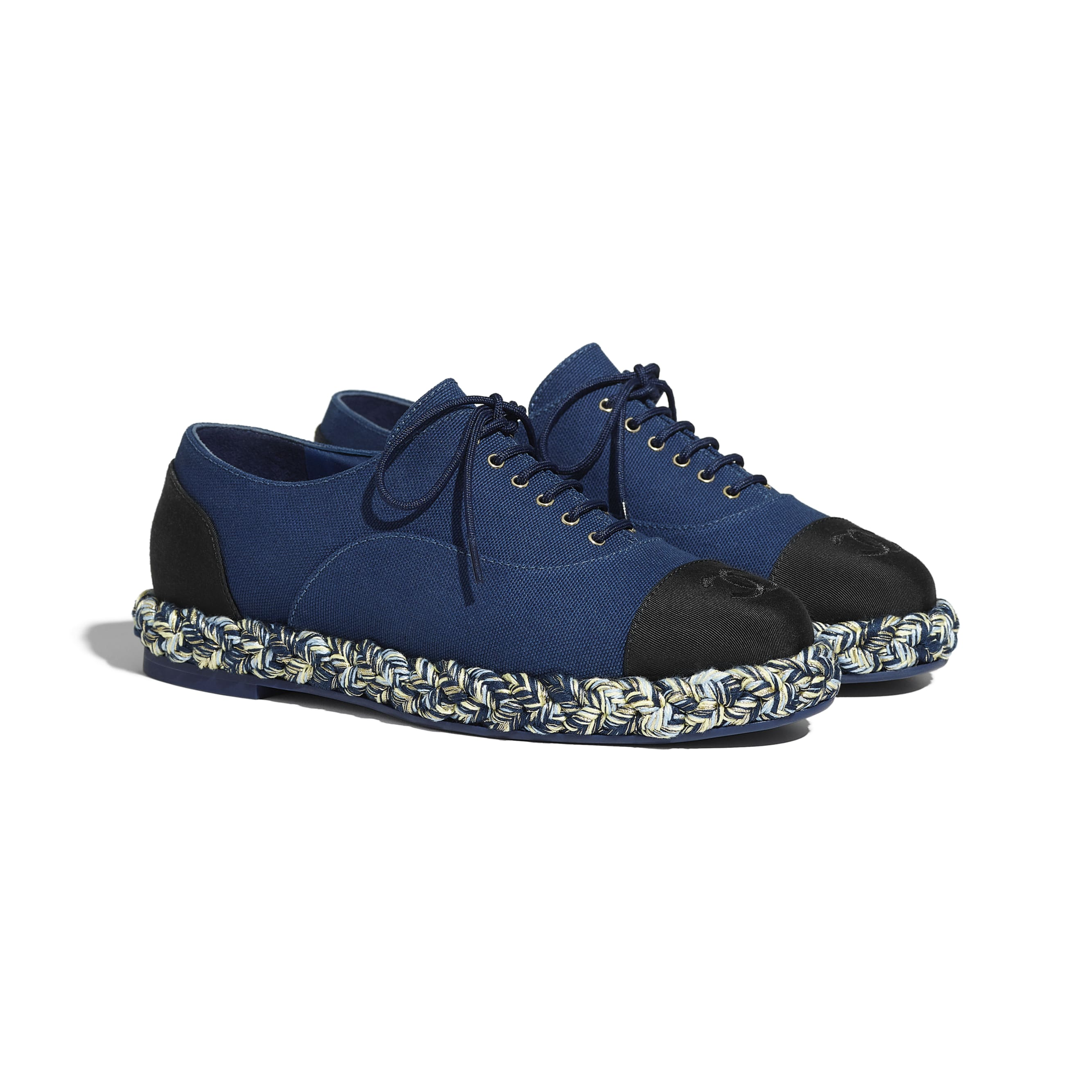 Lace Up - Navy Blue & Black - Cotton & Grosgrain - CHANEL - Alternative view - see standard sized version
