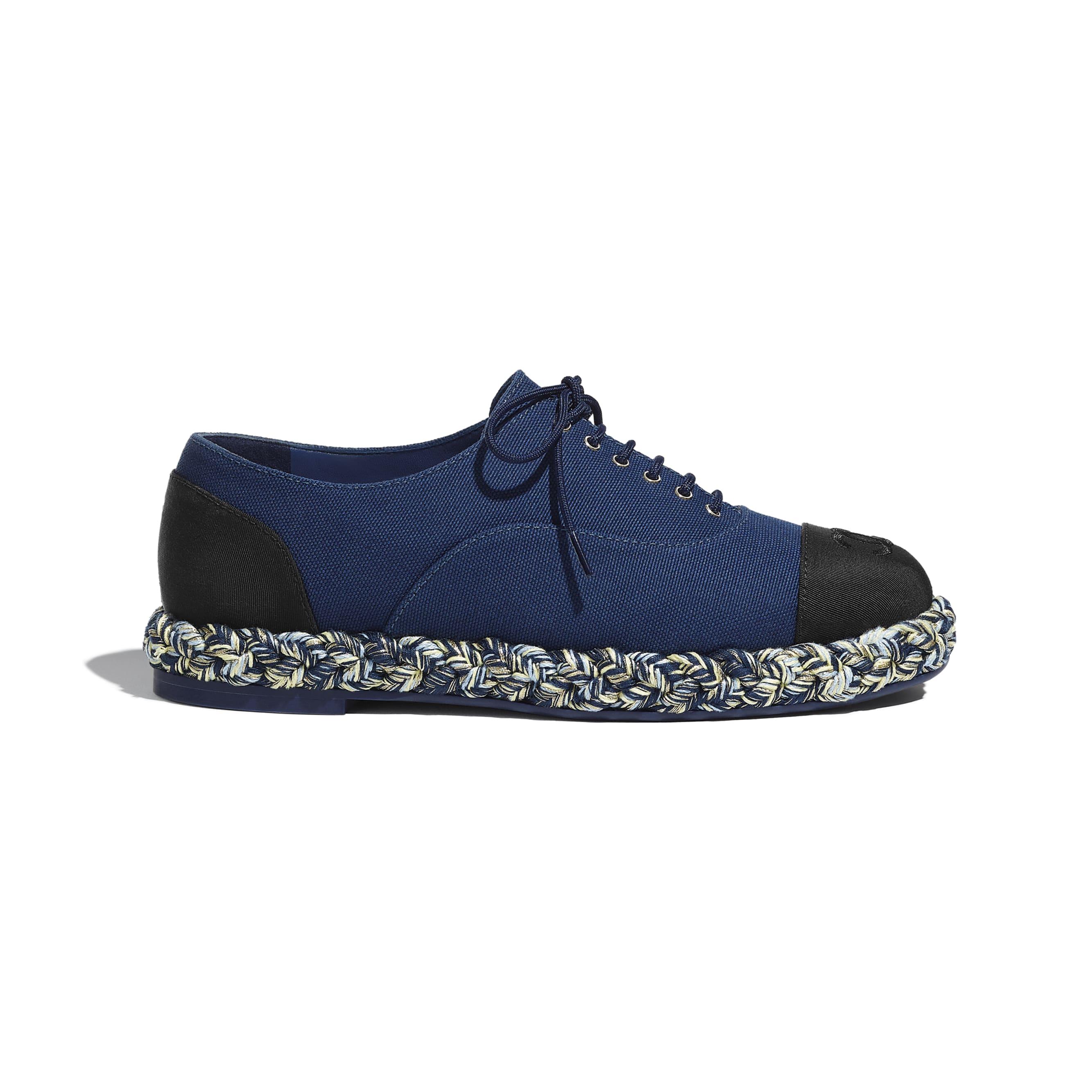 Lace-Ups - Navy Blue & Black - Cotton & Grosgrain - CHANEL - Default view - see standard sized version