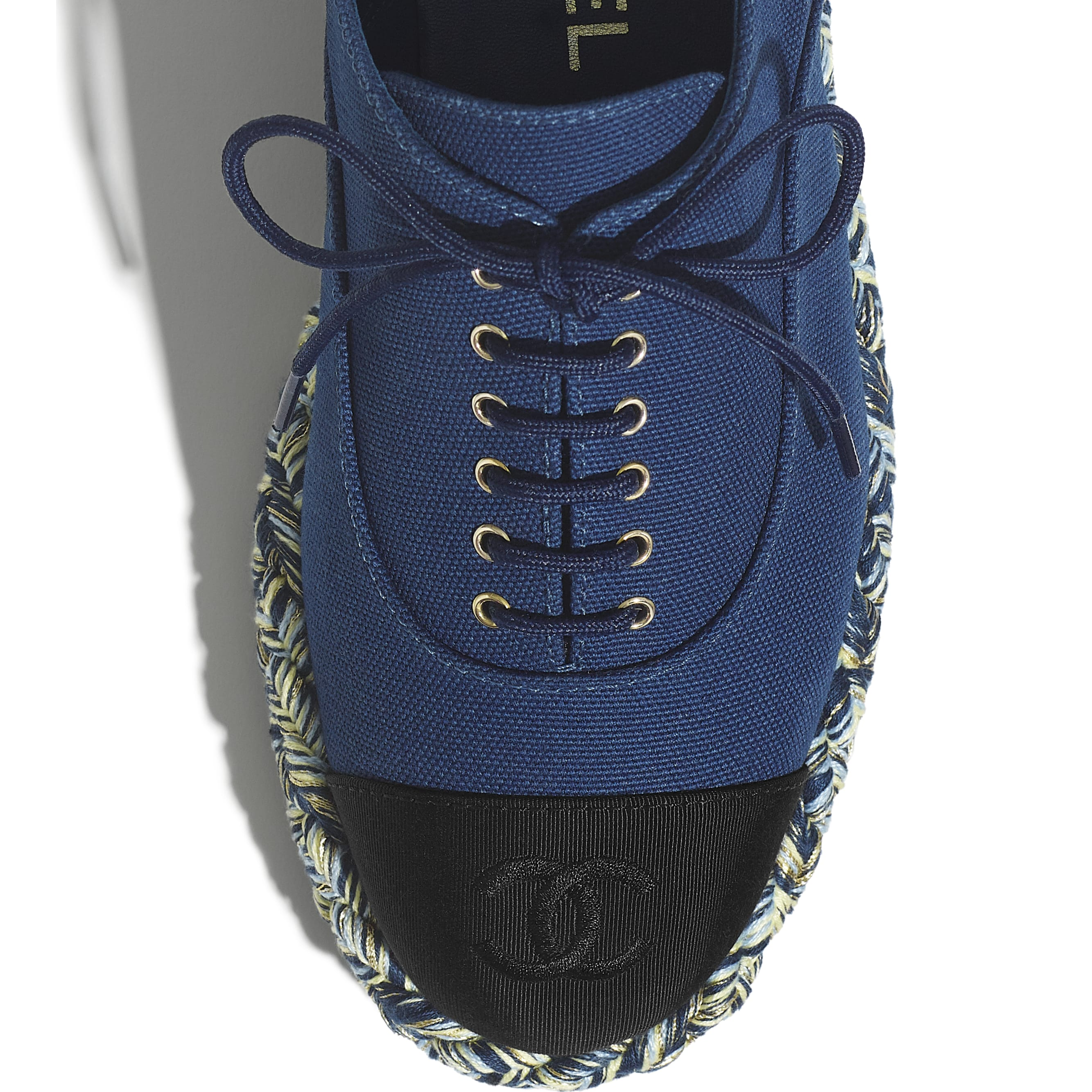 Lace-Ups - Navy Blue & Black - Cotton & Grosgrain - CHANEL - Extra view - see standard sized version