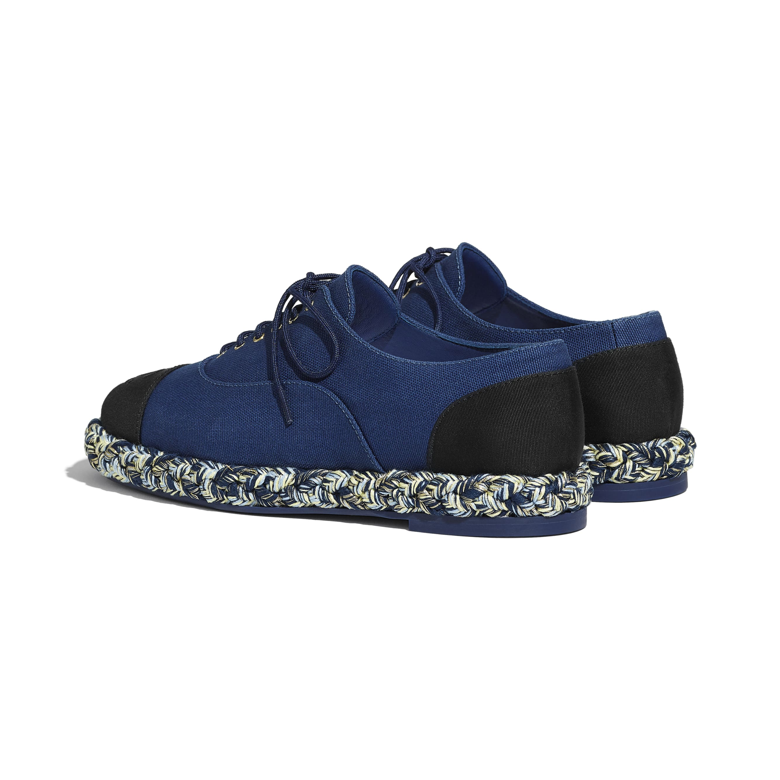 Lace-Ups - Navy Blue & Black - Cotton & Grosgrain - CHANEL - Other view - see standard sized version