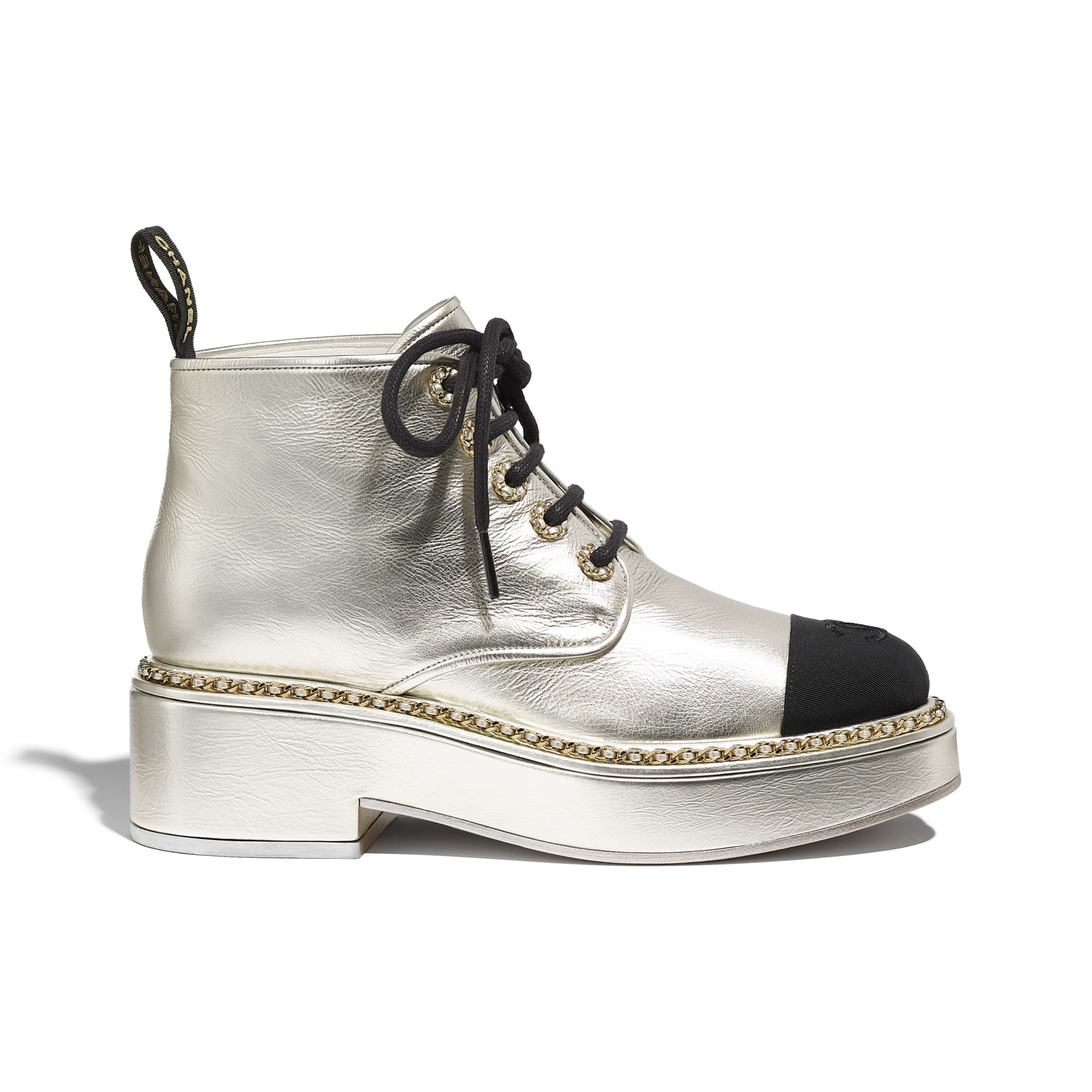 Lace-Ups - Silver & Black - Laminated Lambskin & Grosgrain - CHANEL - Default view - see standard sized version