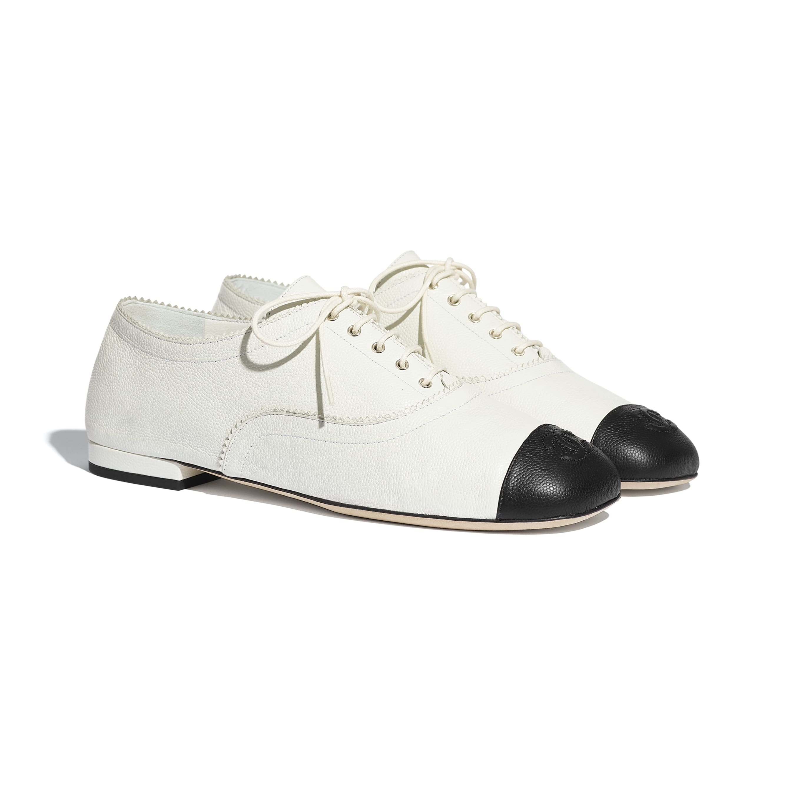 Lace Up - White & Black - Calfskin - CHANEL - Alternative view - see standard sized version