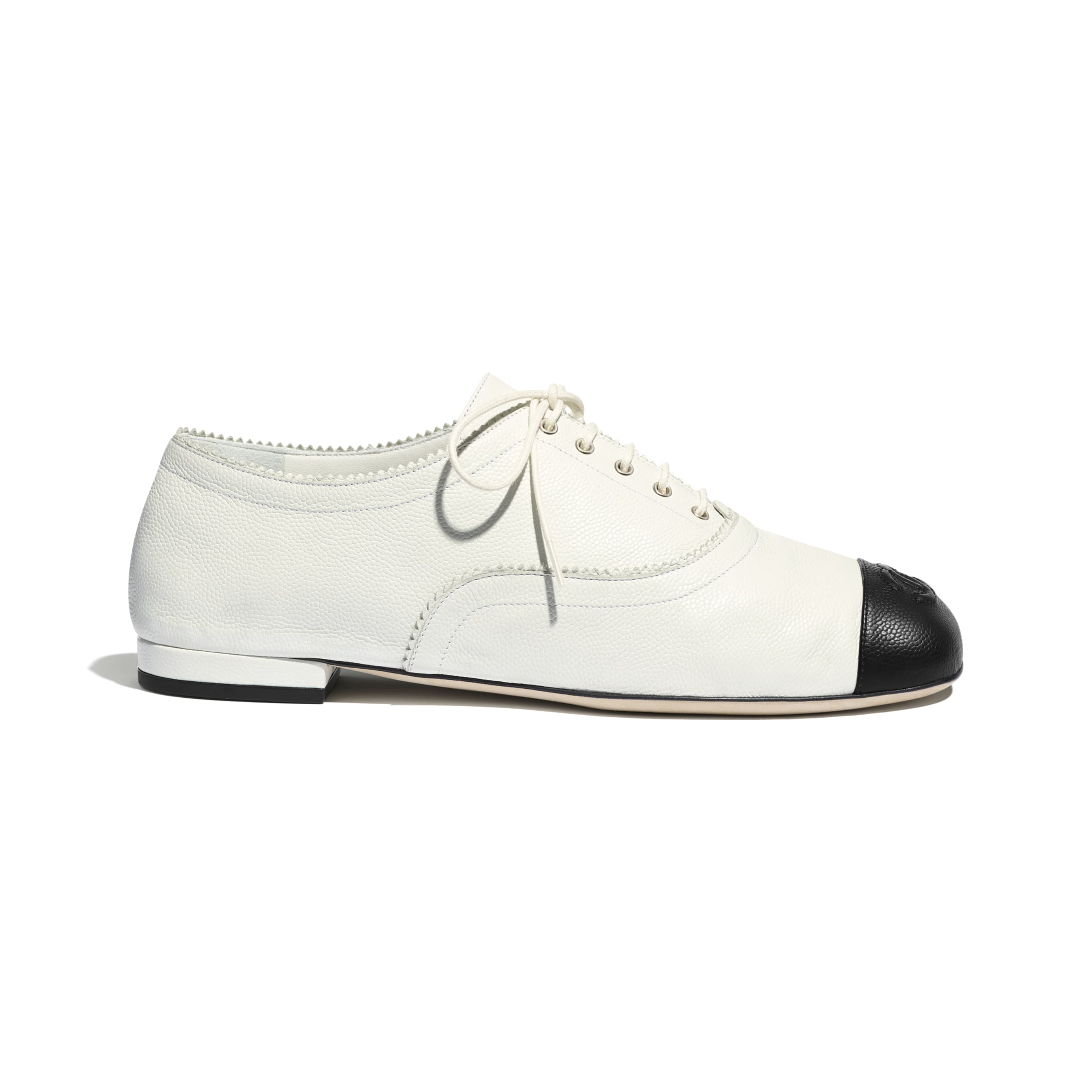 Lace Up - White & Black - Calfskin - CHANEL - Default view - see standard sized version