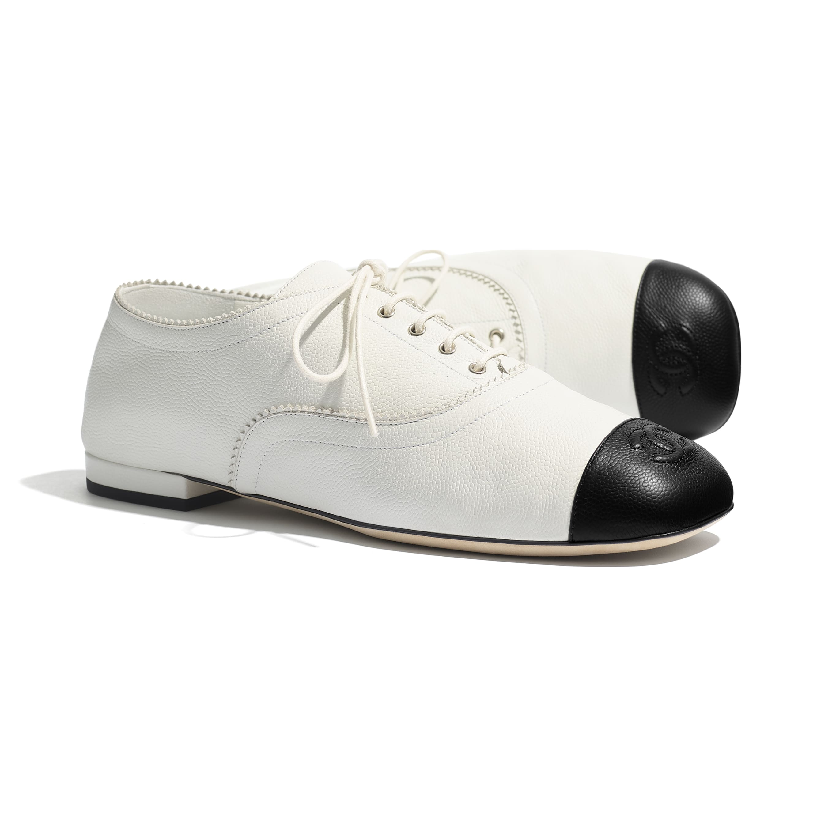 Lace Up - White & Black - Calfskin - CHANEL - Extra view - see standard sized version