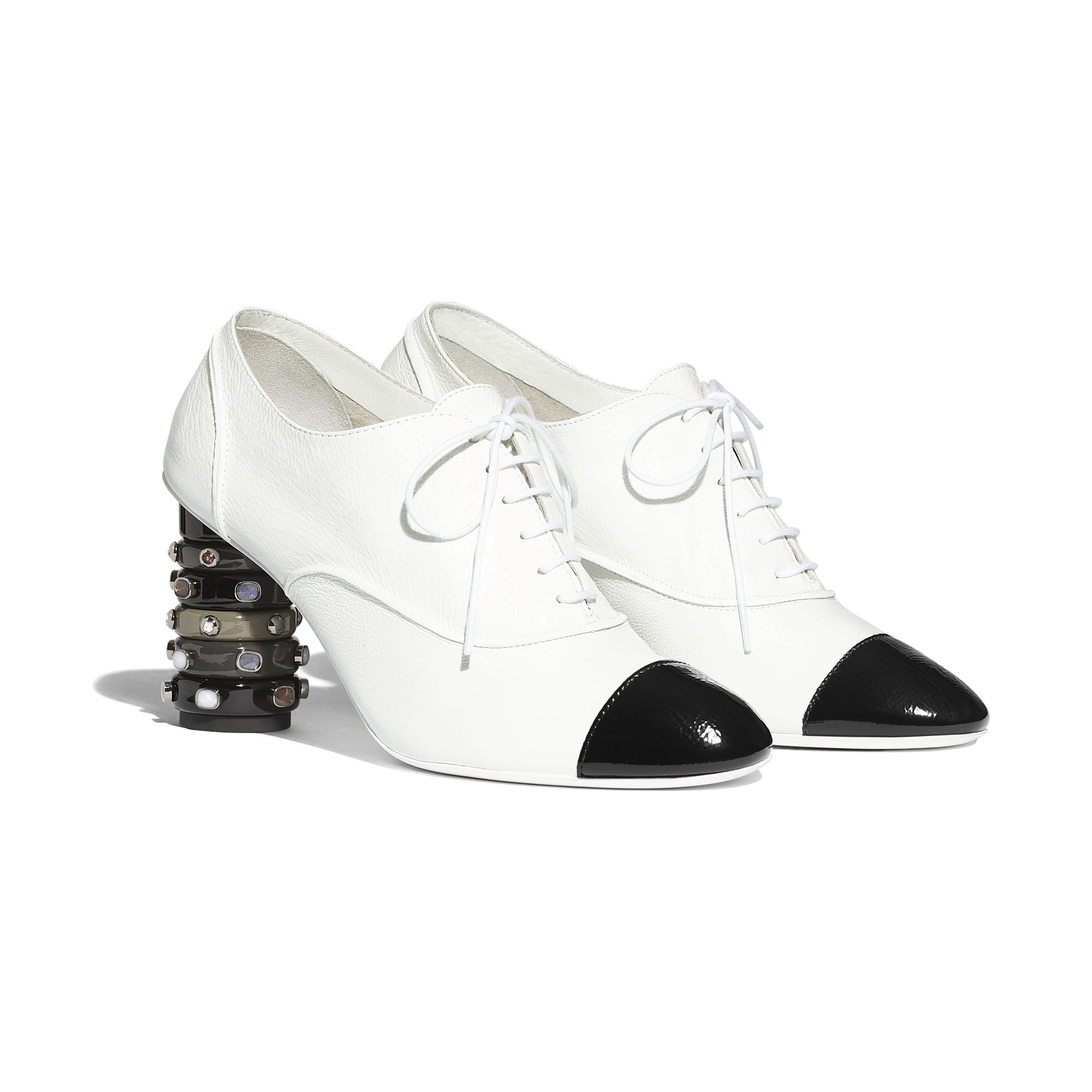 Lace Up - White & Black - Shiny Crumpled Calfskin - Alternative view - see standard sized version
