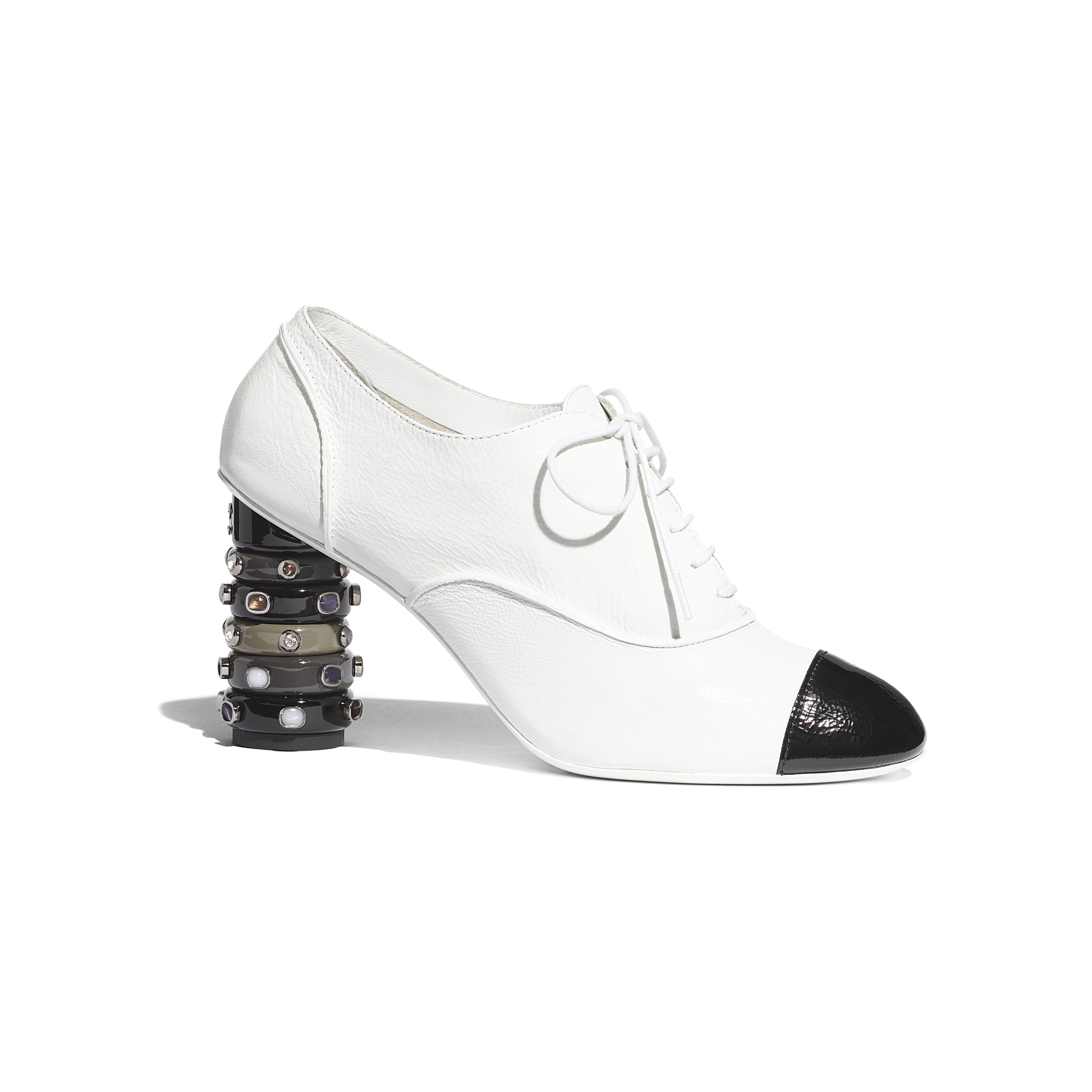 Lace Up - White & Black - Shiny Crumpled Calfskin - Default view - see standard sized version