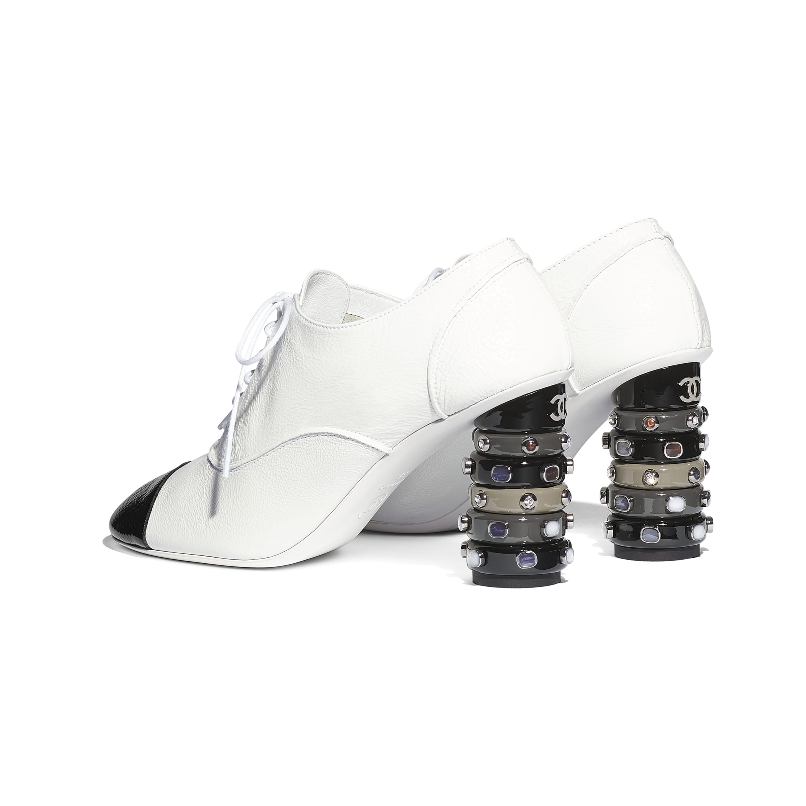 Lace Up - White & Black - Shiny Crumpled Calfskin - Other view - see standard sized version