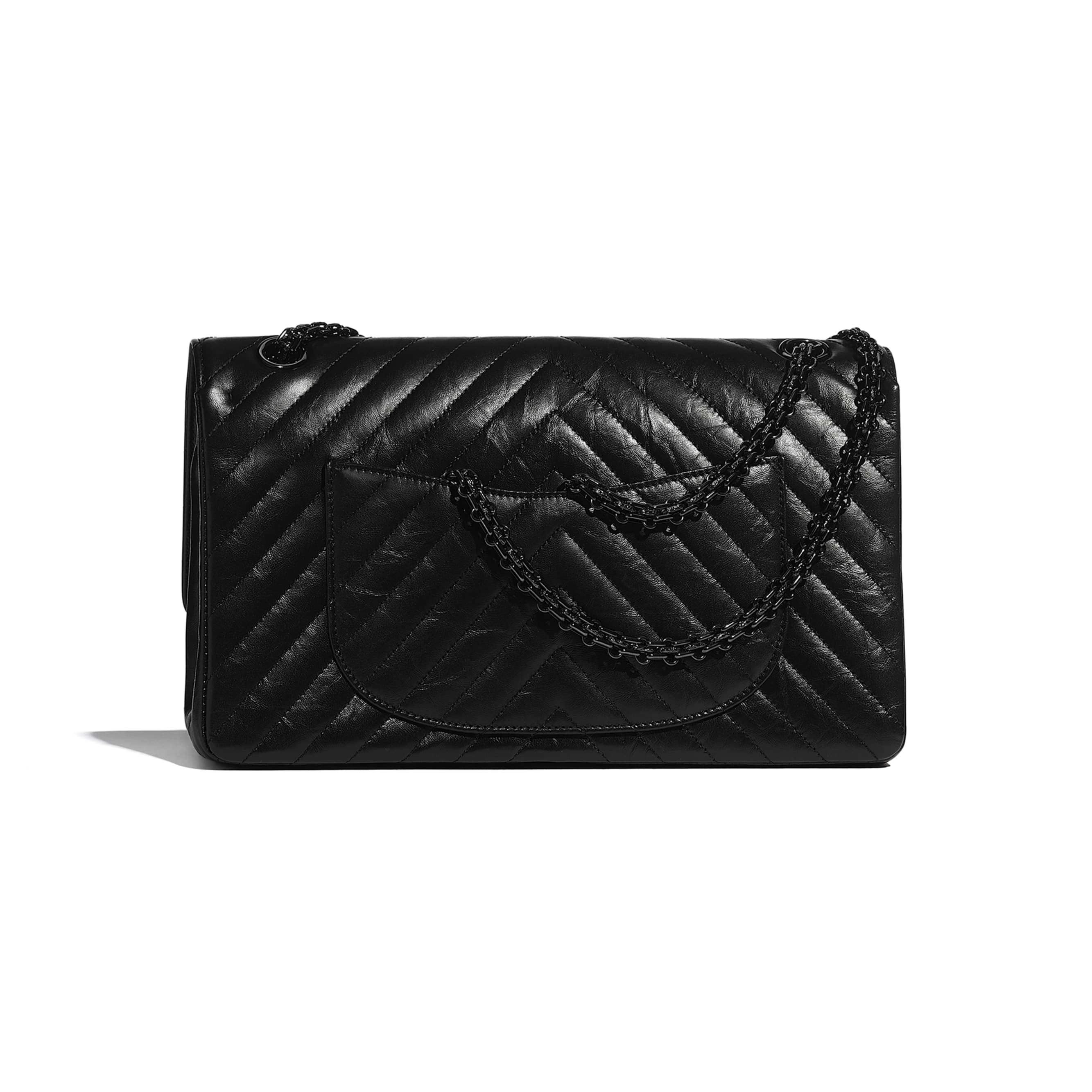 Large 2.55 Handbag - Black - Aged Calfskin & Black Metal - CHANEL - Alternative view - see standard sized version