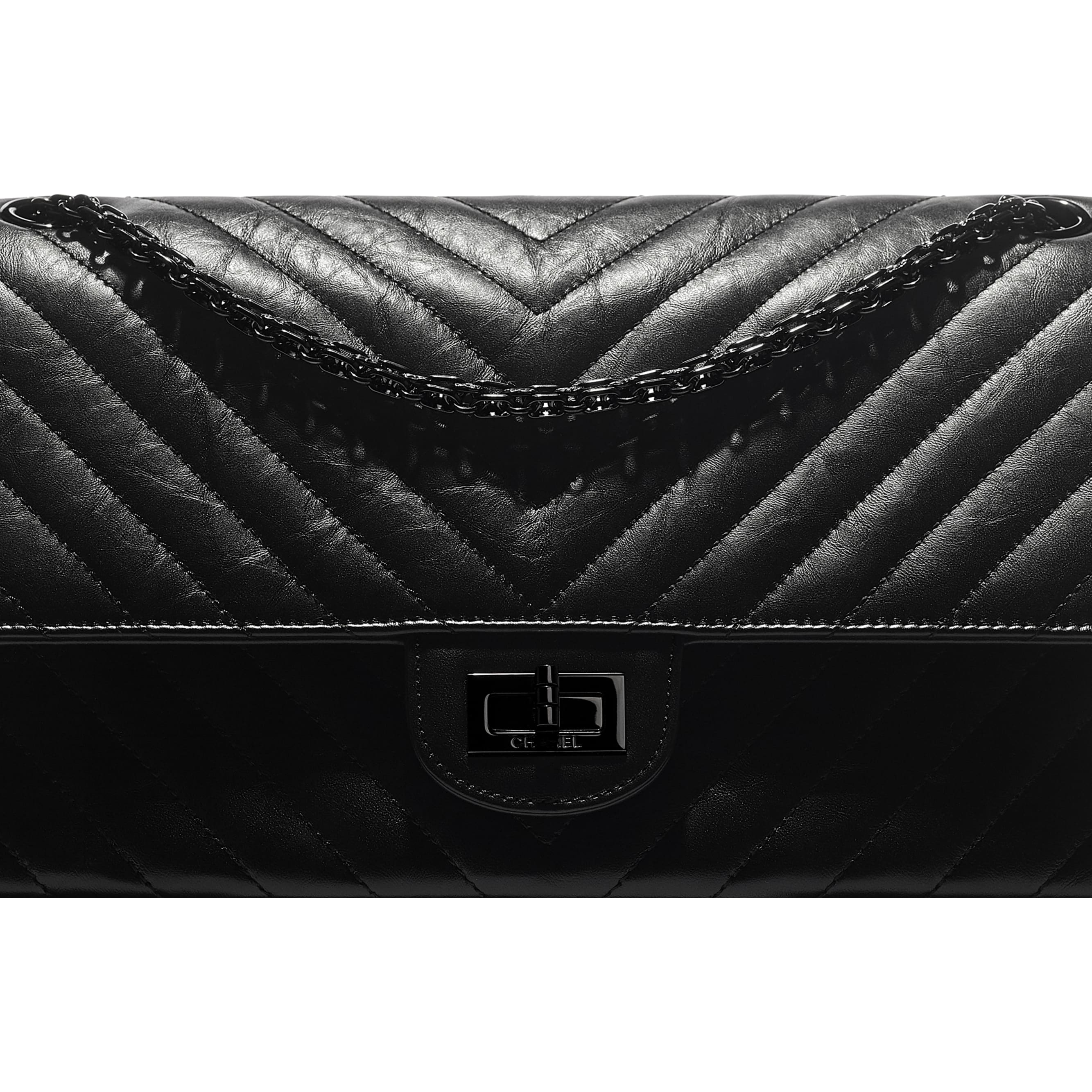 Large 2.55 Handbag - Black - Aged Calfskin & Black Metal - CHANEL - Extra view - see standard sized version