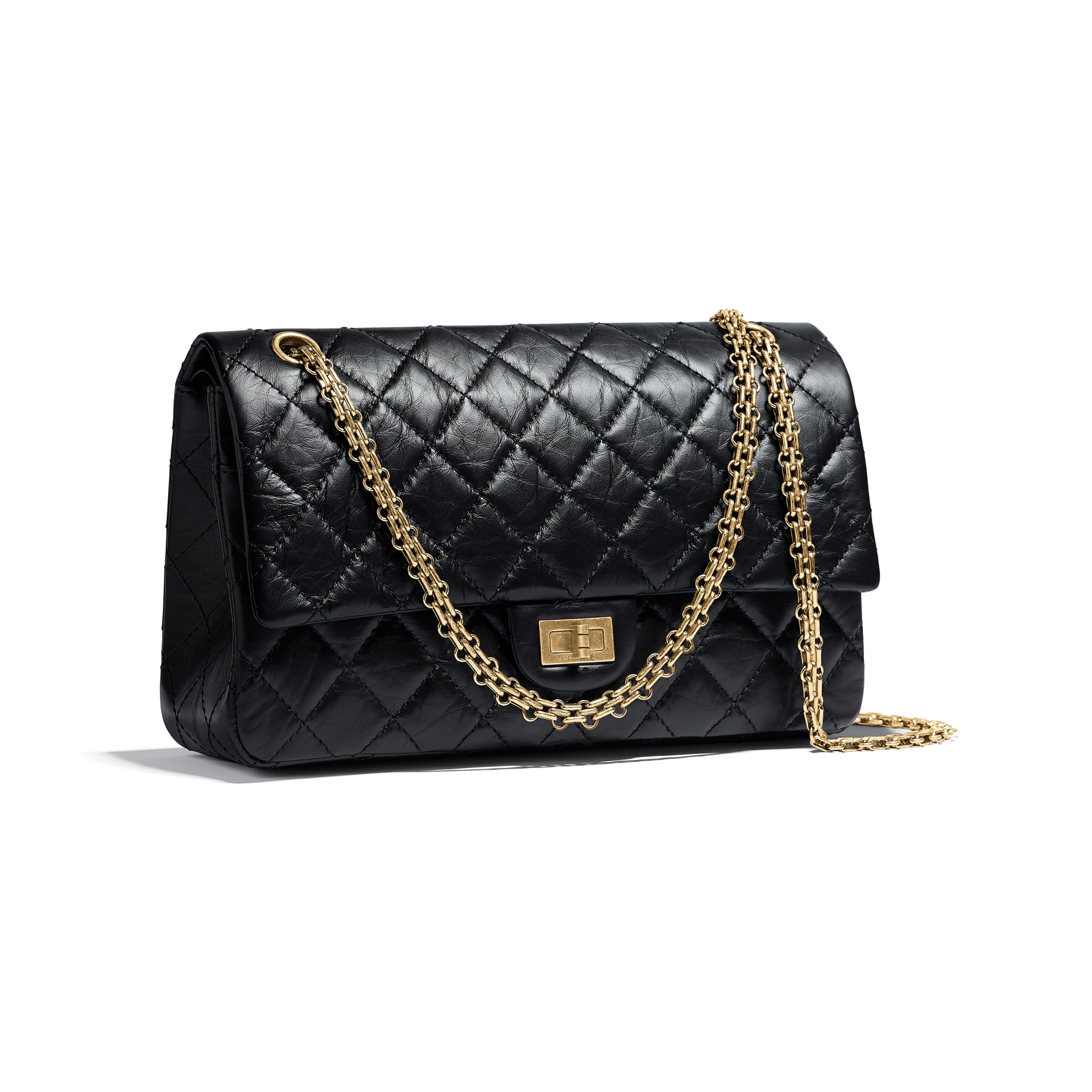 Large 2.55 Handbag - Black - Aged Calfskin & Gold-Tone Metal - CHANEL - Other view - see standard sized version