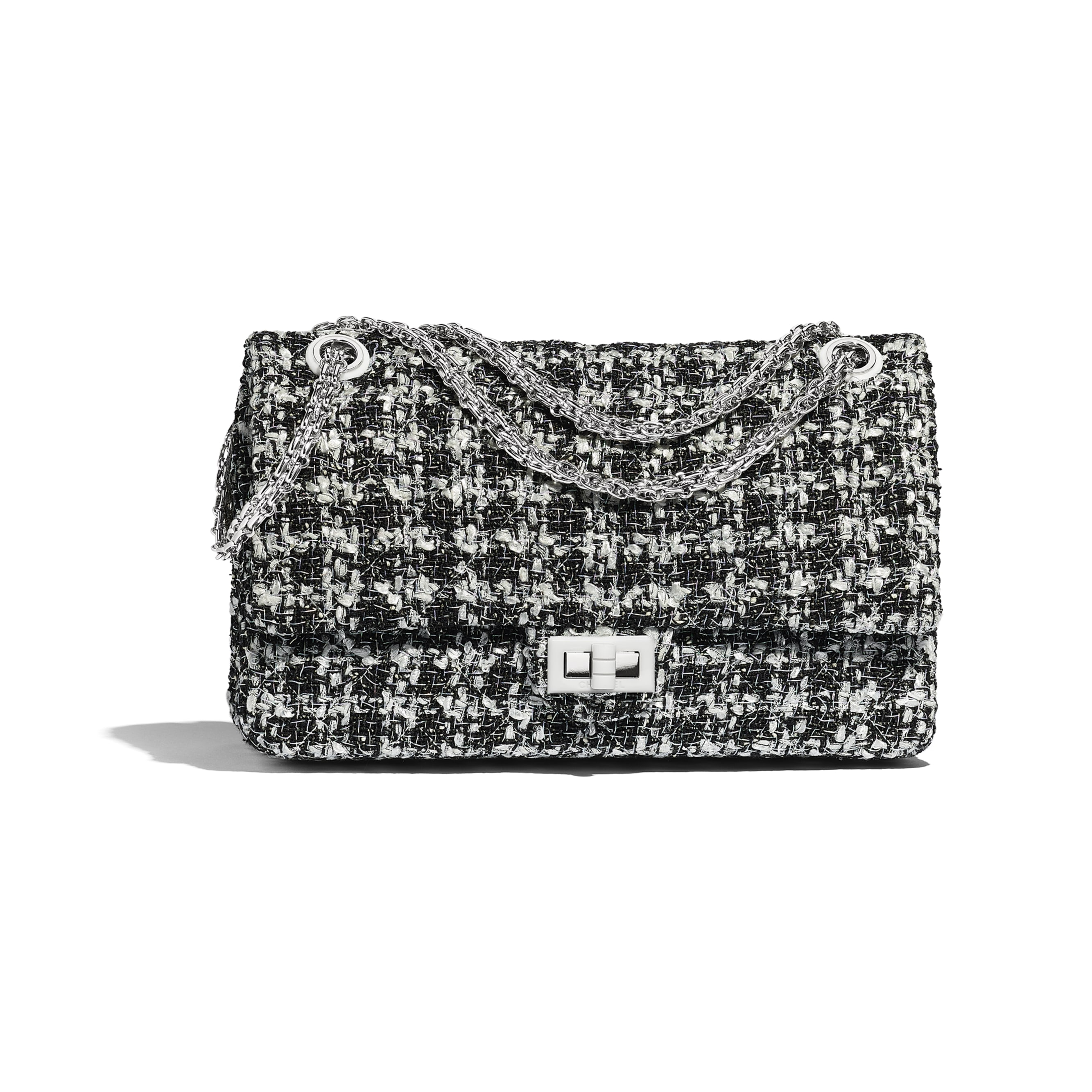 3f1dc694c002 ... Large 2.55 Handbag - Black   White - Tweed