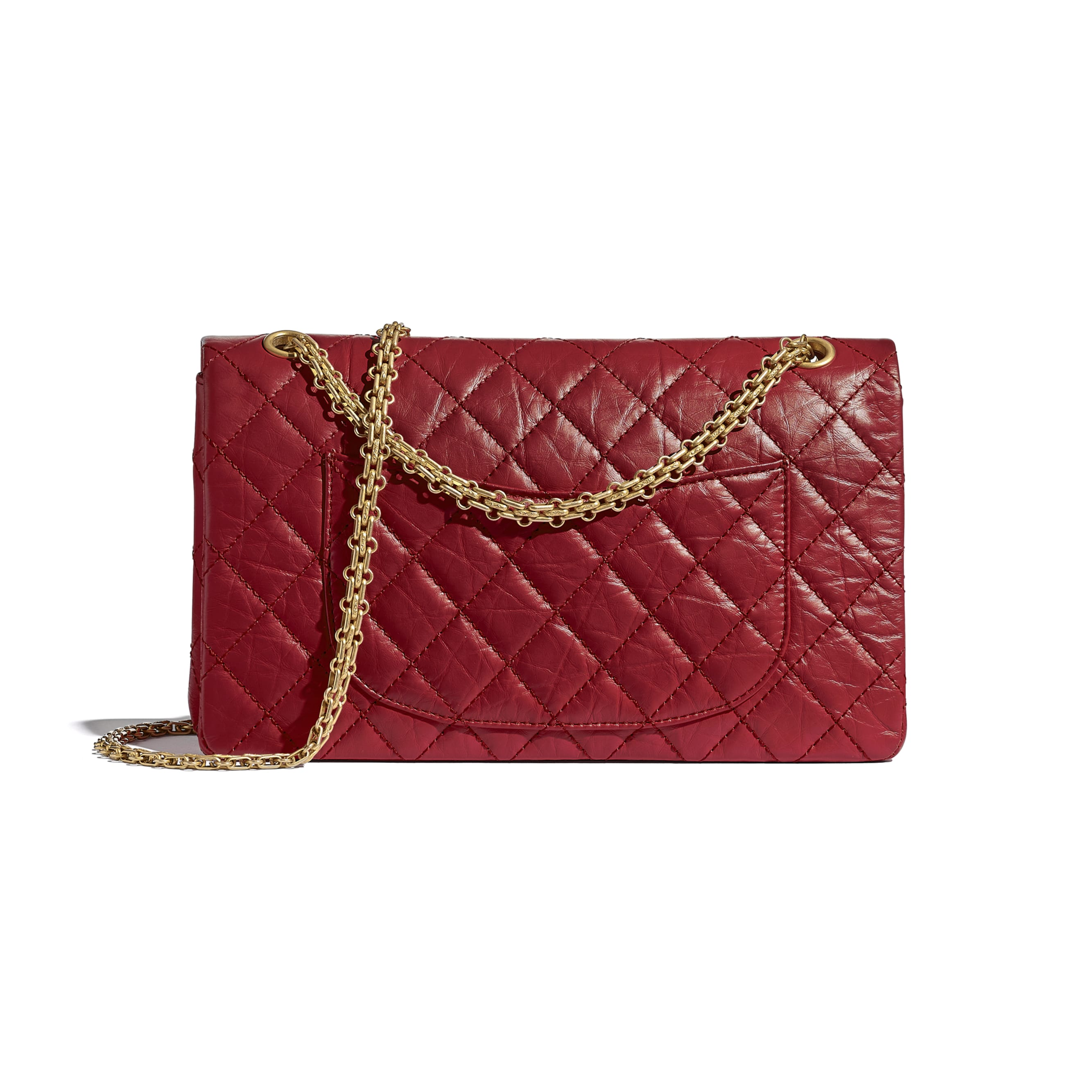 Large 2.55 Handbag - Red - Aged Calfskin & Gold-Tone Metal - CHANEL - Alternative view - see standard sized version