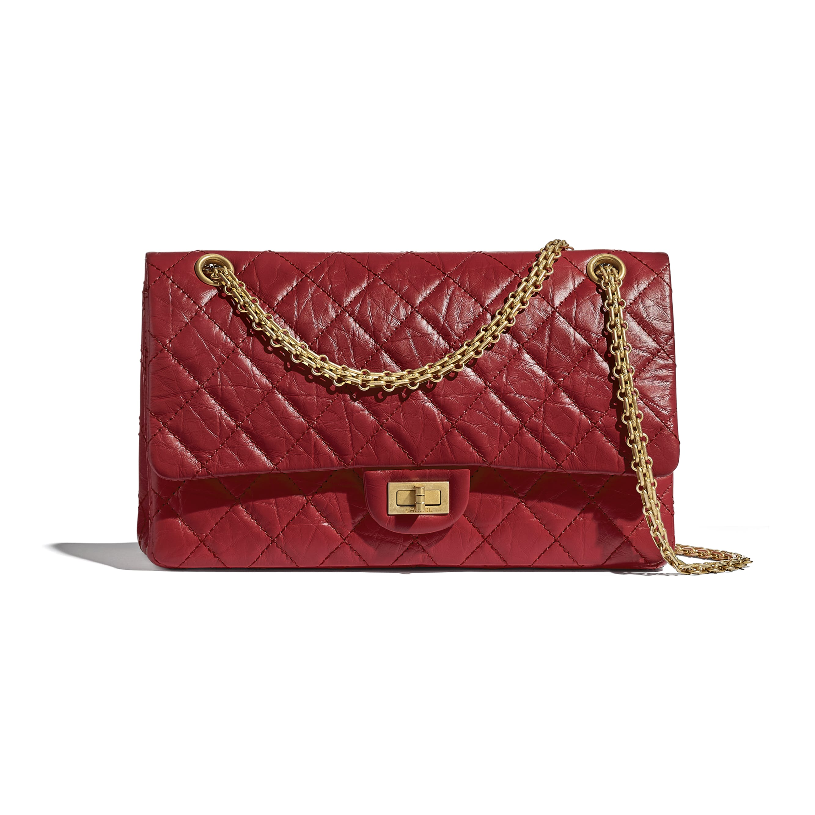 Large 2.55 Handbag - Red - Aged Calfskin & Gold-Tone Metal - CHANEL - Default view - see standard sized version