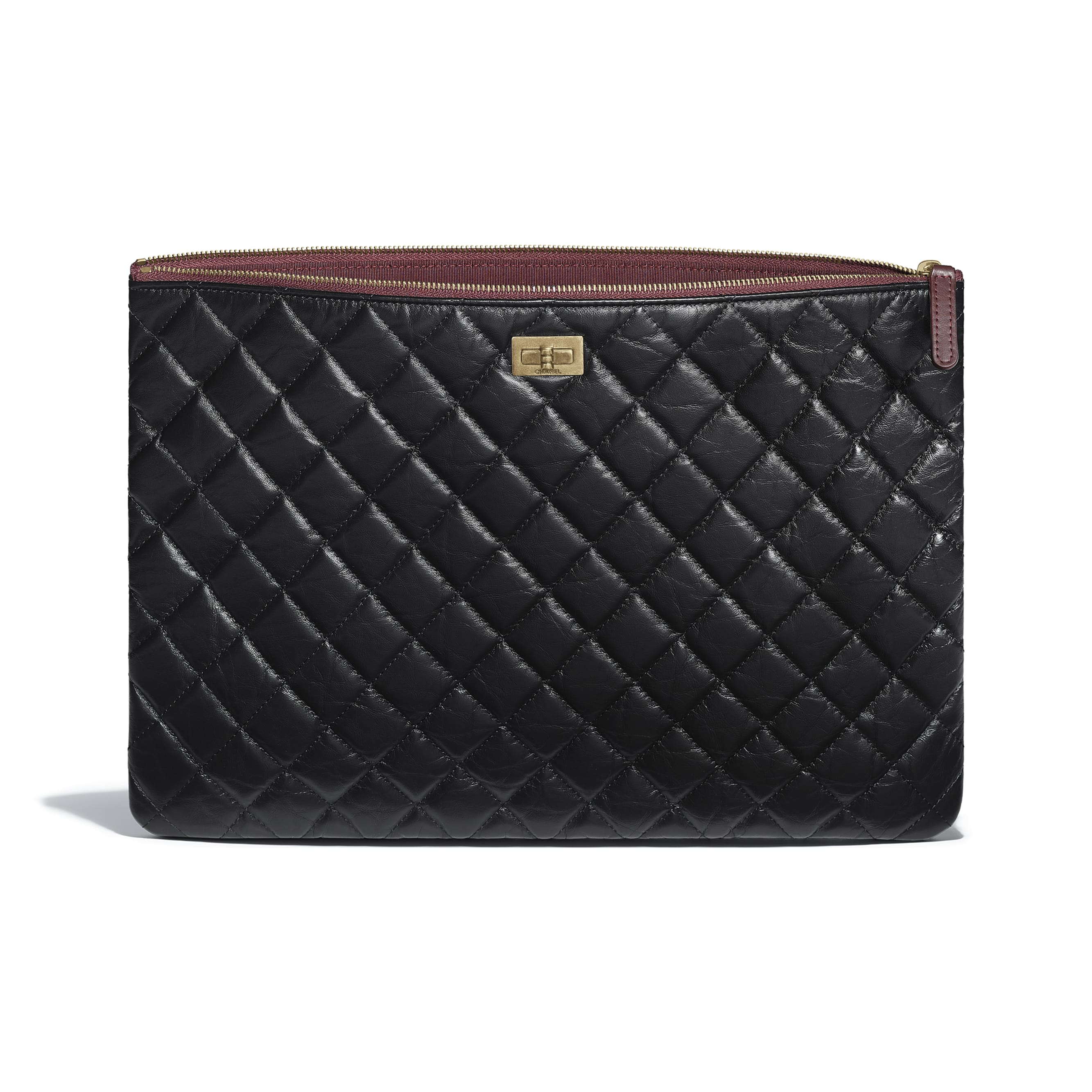 Large 2.55 Pouch - Black - Aged Calfskin & Gold-Tone Metal - Other view - see standard sized version