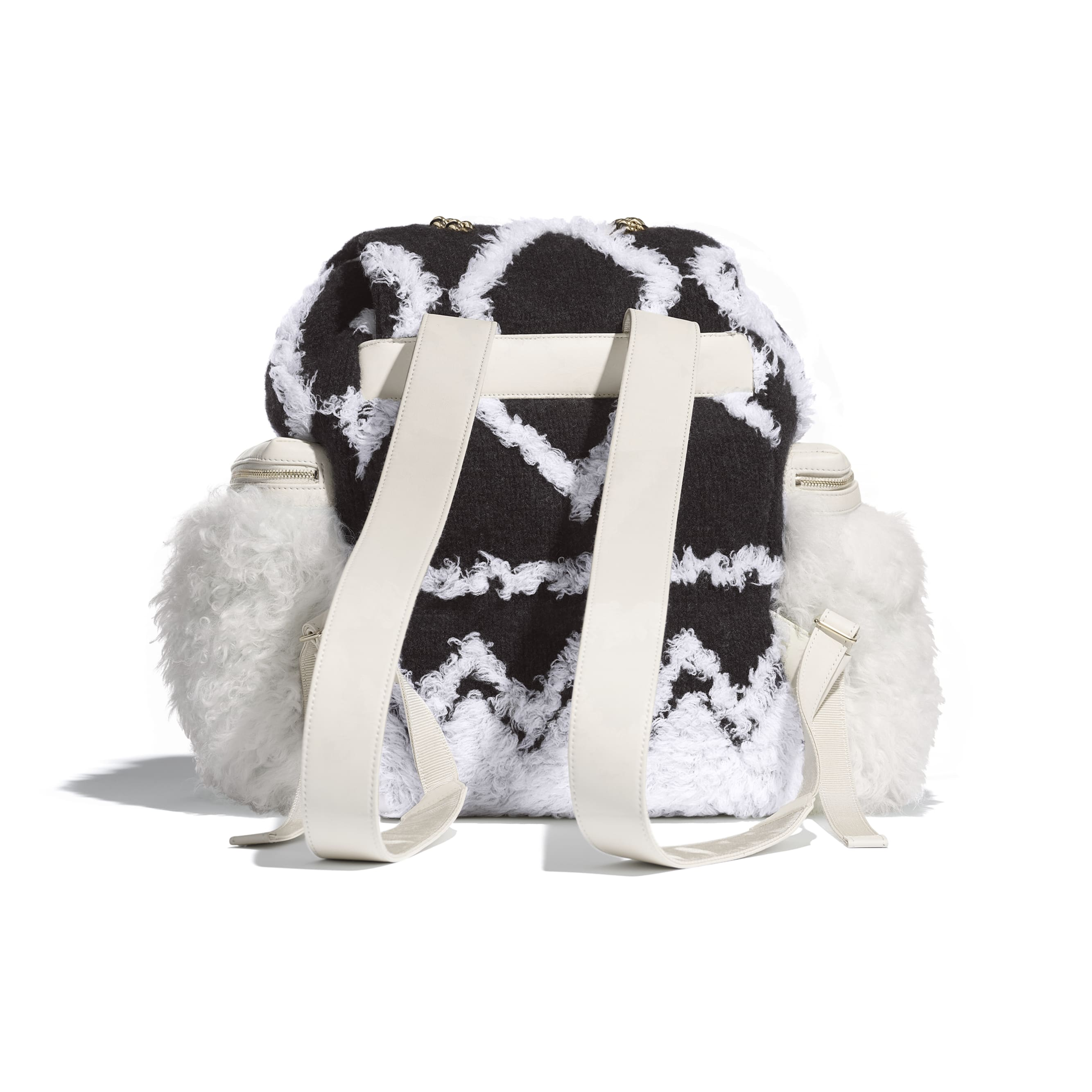 Large Backpack - White & Black - Wool, Shearling Sheepskin & Gold-Tone Metal - Alternative view - see standard sized version