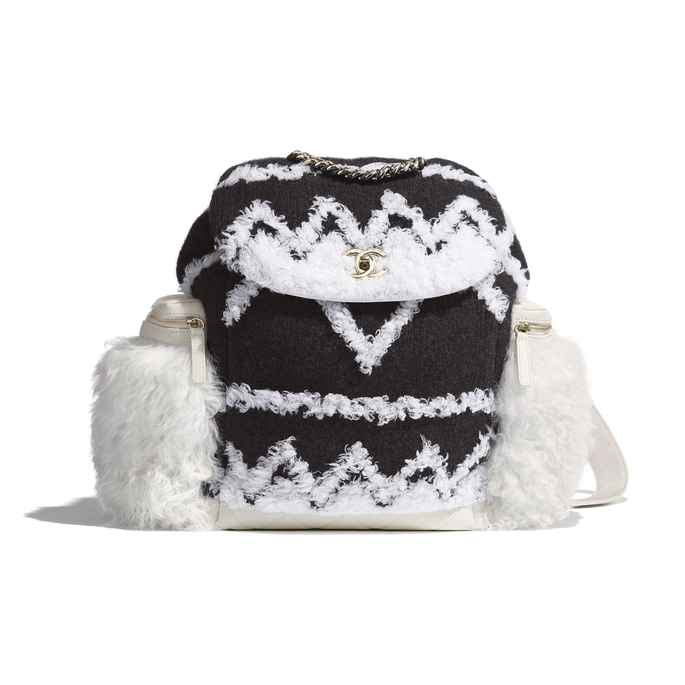 Large Backpack - White & Black - Wool, Shearling Sheepskin & Gold-Tone Metal - Default view - see standard sized version