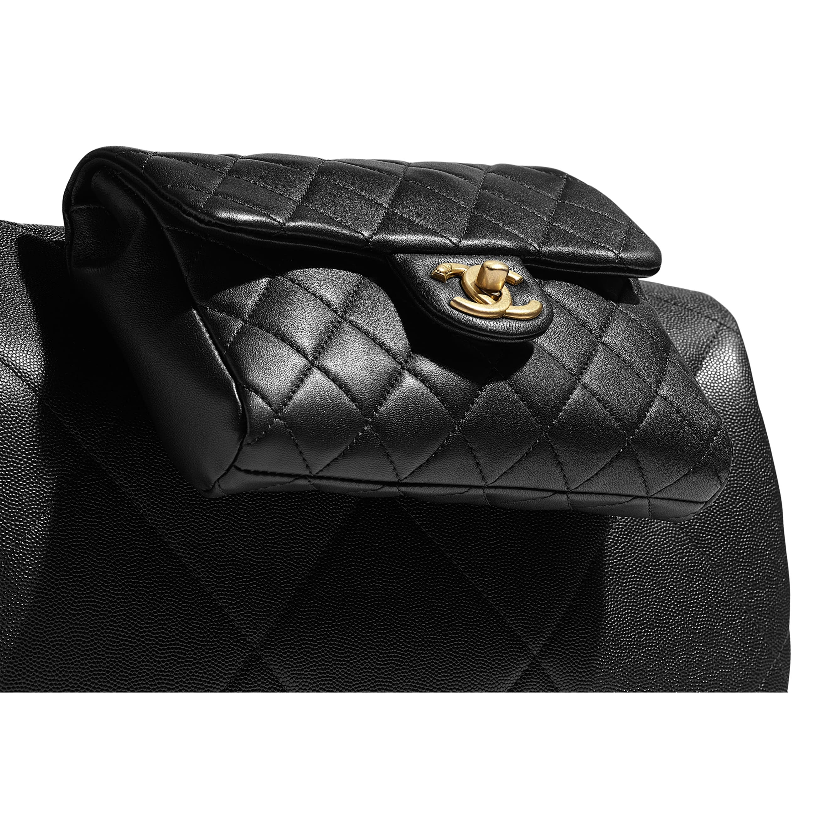 Large Bowling Bag - Black - Grained Calfskin, Lambskin & Gold Metal - Extra view - see standard sized version
