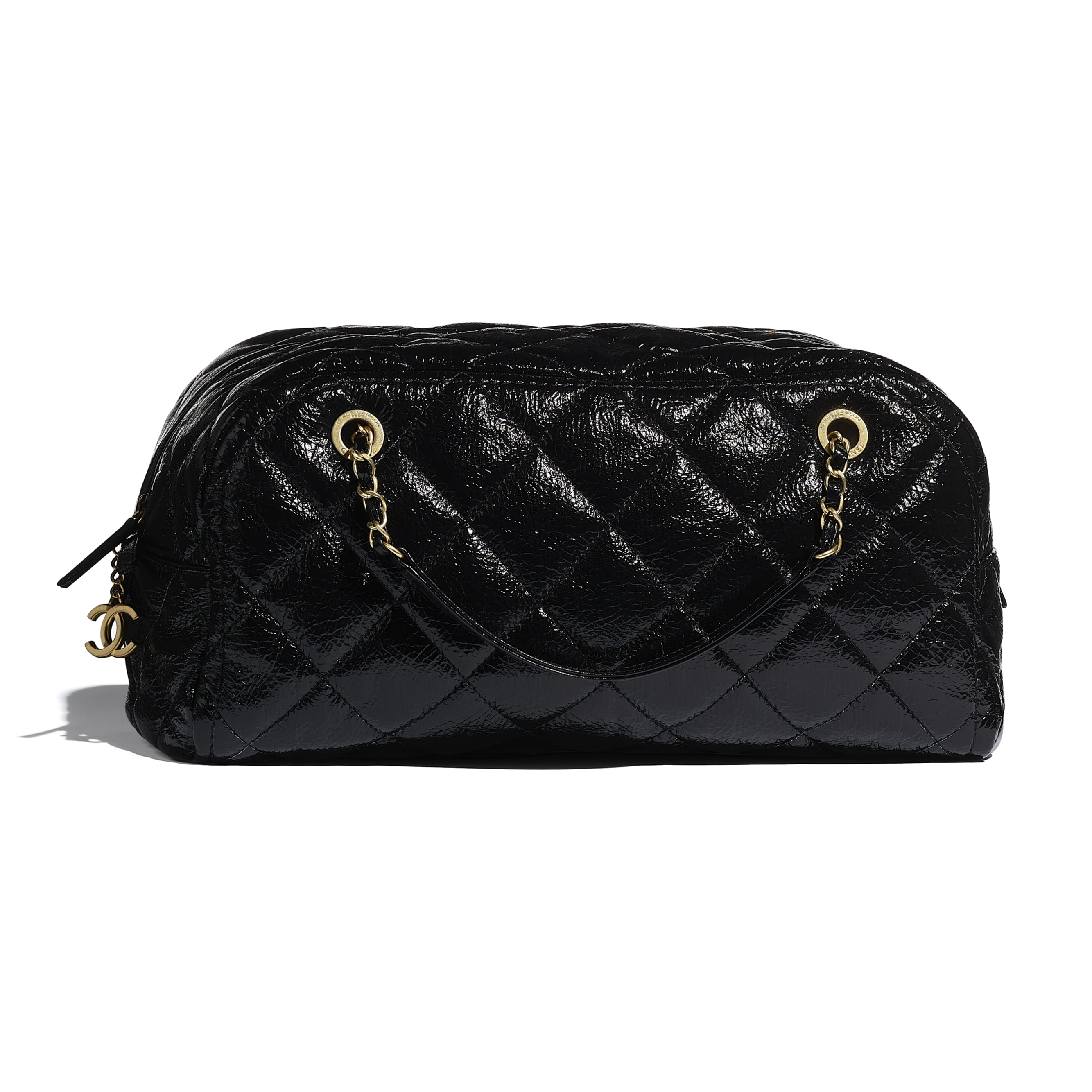 Large Bowling Bag - Black - Shiny Crumpled Calfskin & Gold-Tone Metal - CHANEL - Alternative view - see standard sized version