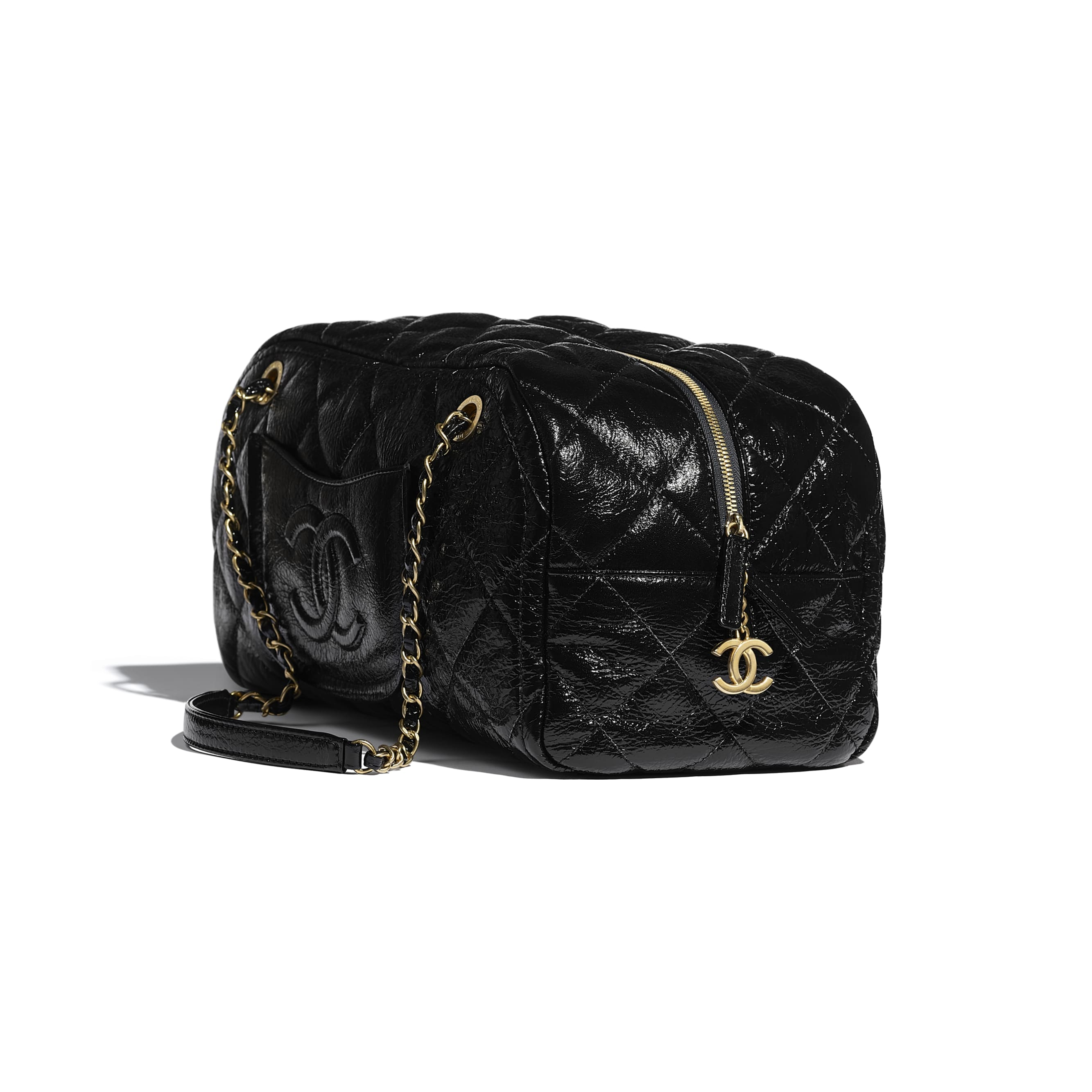 Large Bowling Bag - Black - Shiny Crumpled Calfskin & Gold-Tone Metal - CHANEL - Default view - see standard sized version