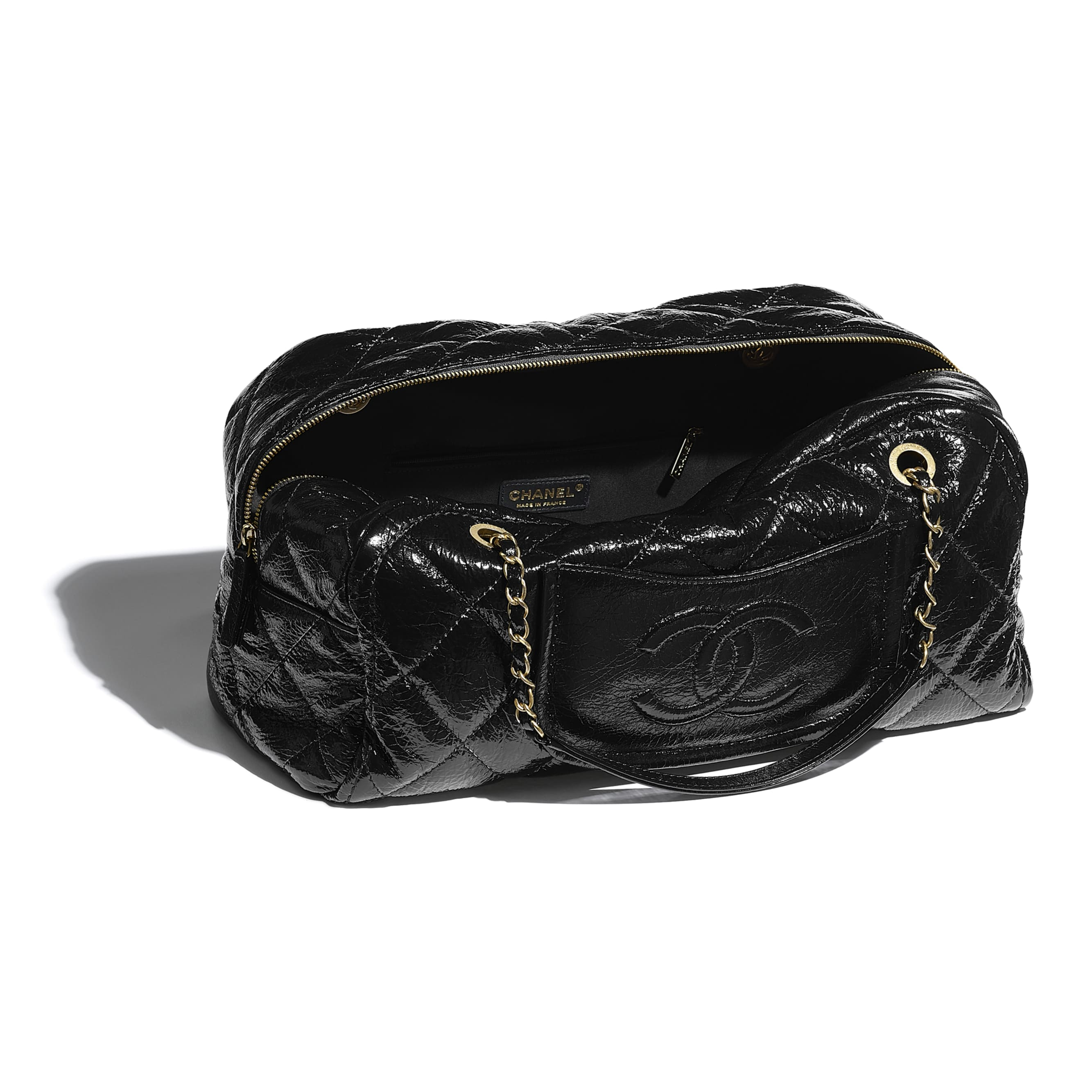 Large Bowling Bag - Black - Shiny Crumpled Calfskin & Gold-Tone Metal - CHANEL - Other view - see standard sized version