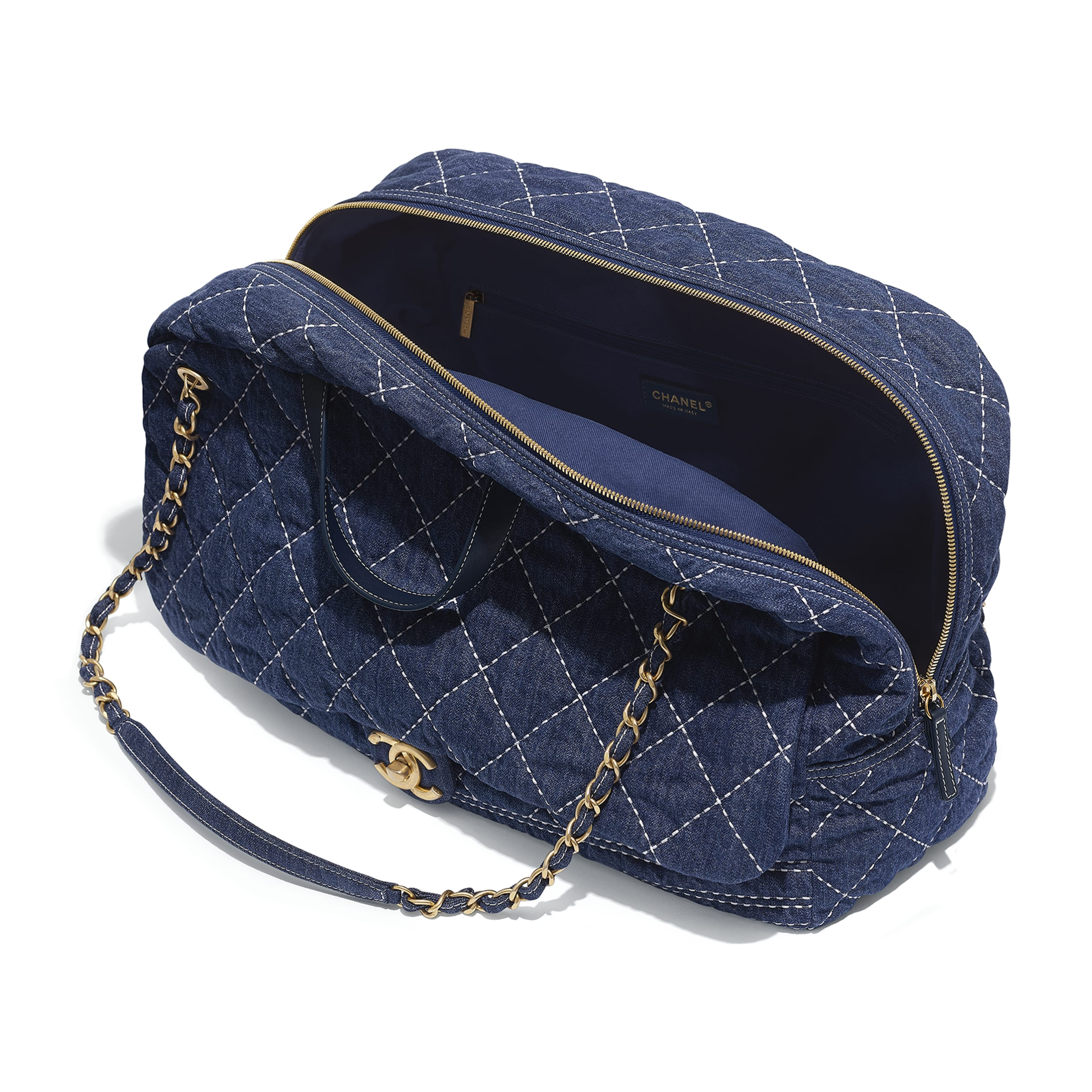 Large Bowling Bag - Blue - Denim & Gold Metal - Other view - see standard sized version
