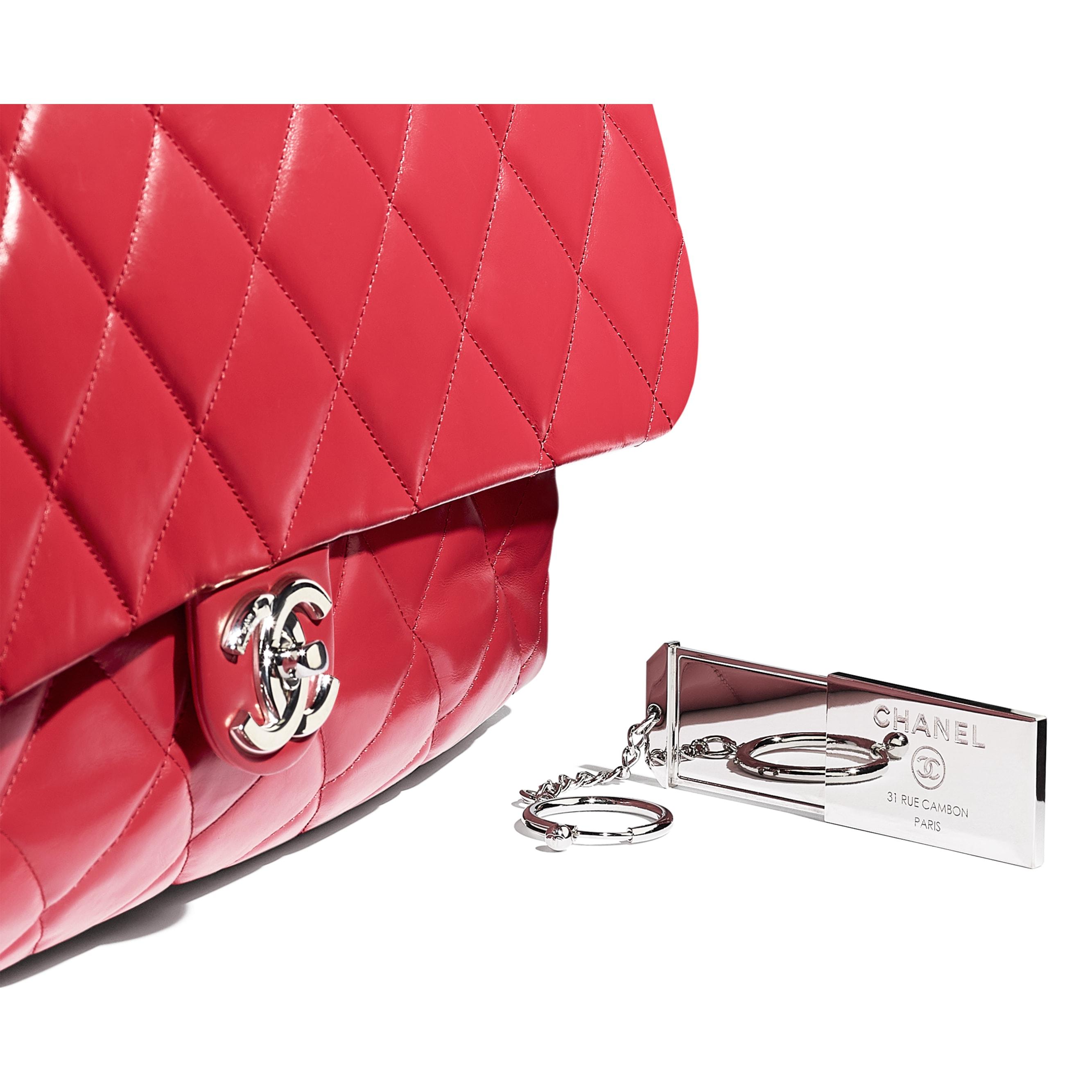 Große Bowling-Tasche - Rot - Kalbsleder & silberfarbenes Metall - Extra-Ansicht - Standardgröße anzeigen