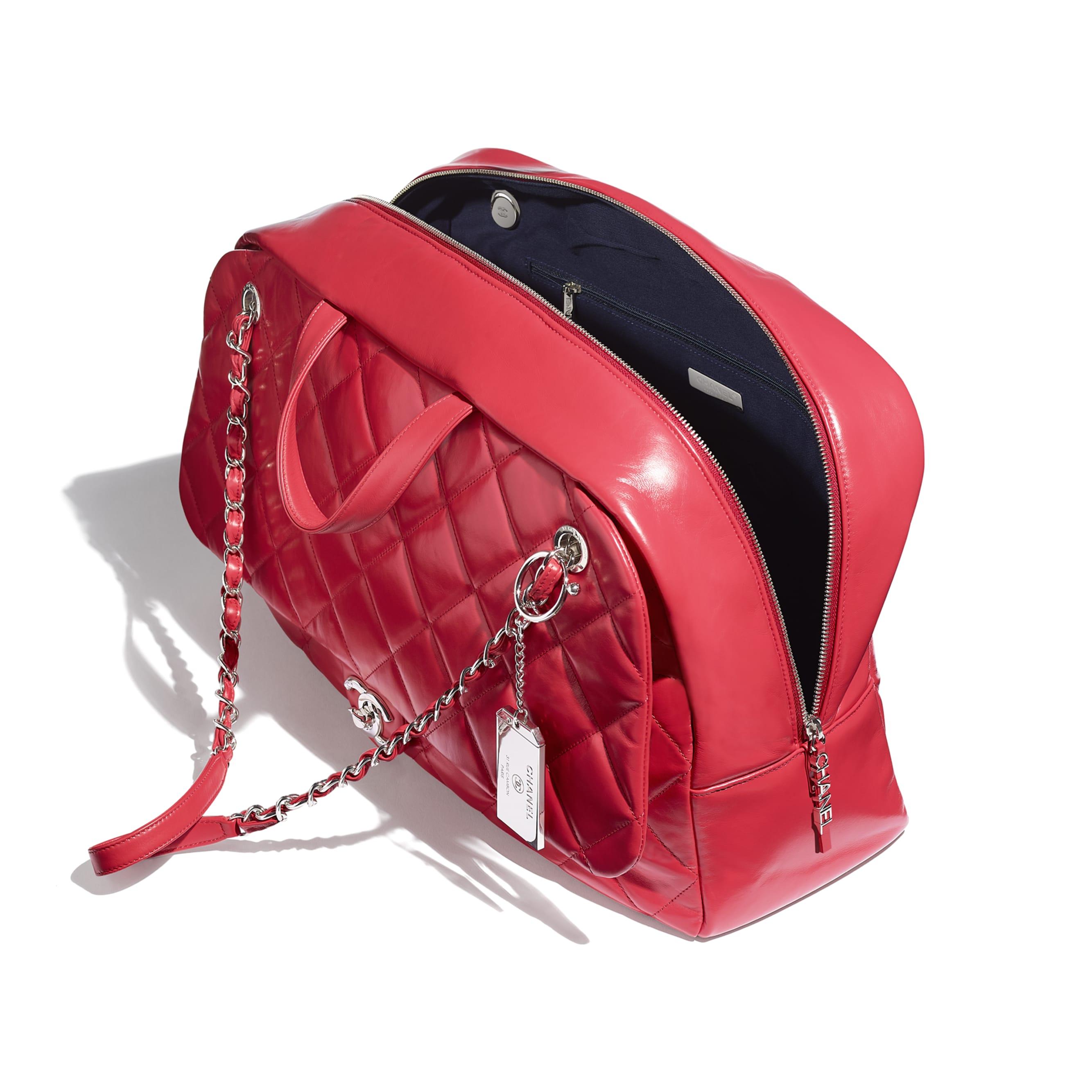 Große Bowling-Tasche - Rot - Kalbsleder & silberfarbenes Metall - Weitere Ansicht - Standardgröße anzeigen