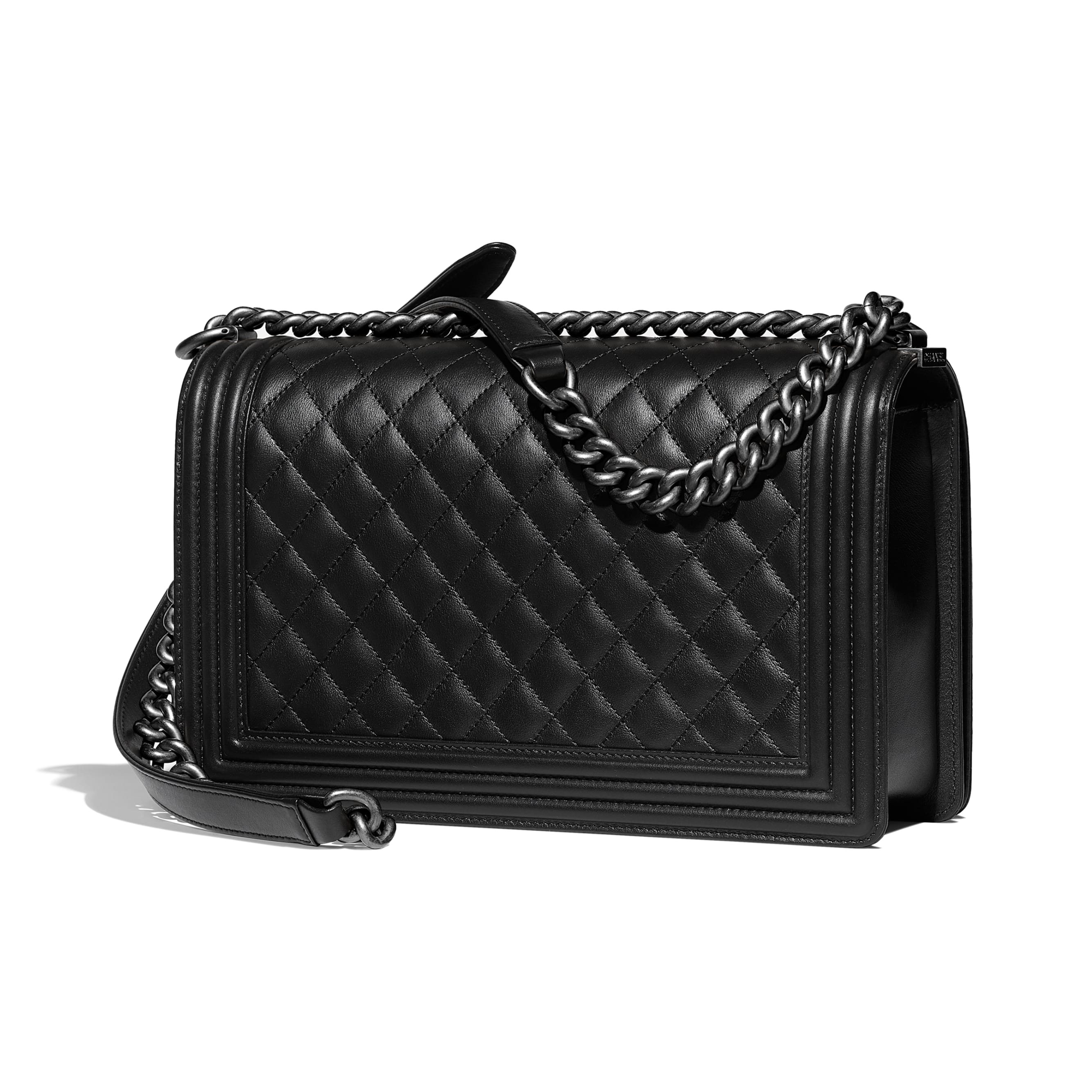Large BOY CHANEL Handbag - Black - Calfskin & Ruthenium-Finish Metal - Alternative view - see standard sized version