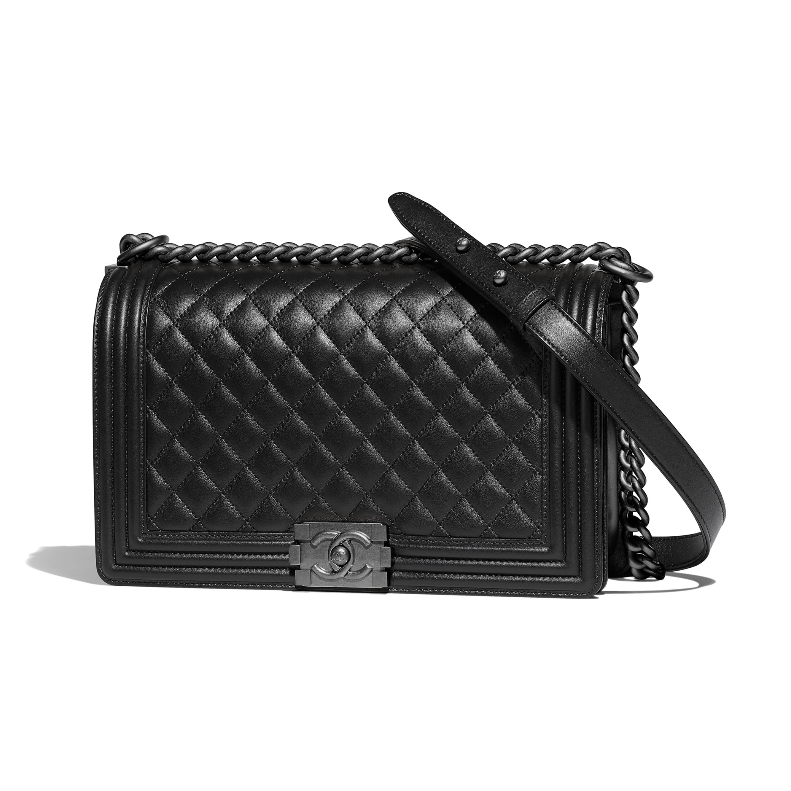 Large BOY CHANEL Handbag - Black - Calfskin & Ruthenium-Finish Metal - CHANEL - Default view - see standard sized version